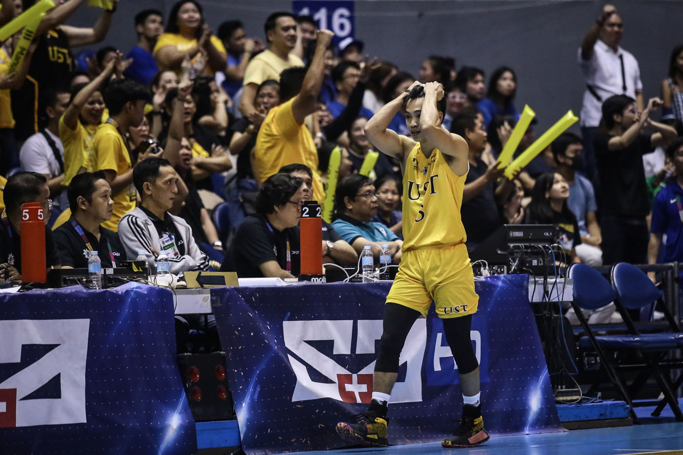 TOO TOUGH. Renzo Subido, UST's semifinal hero against UP, struggles on the floor just like most of his teammates. Photo by Josh Albelda/Rappler