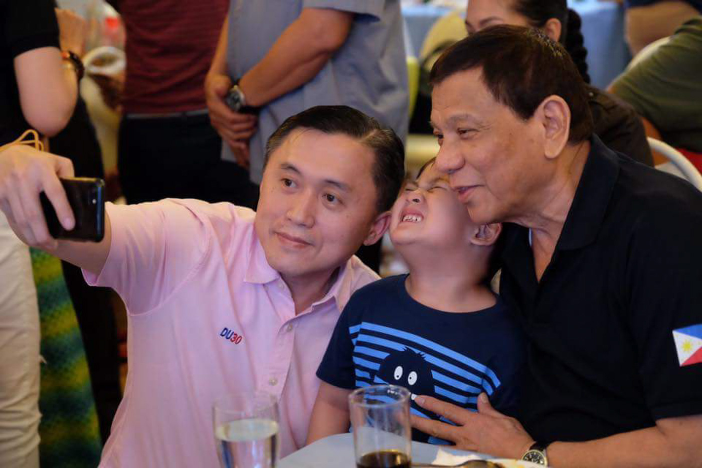 ANOTHER SELFIE. President Rodrigo Duterte and Secretary Bong Go at the 1st birthday party of presidential grandson Stonefish. Photo by SAP Bong Go