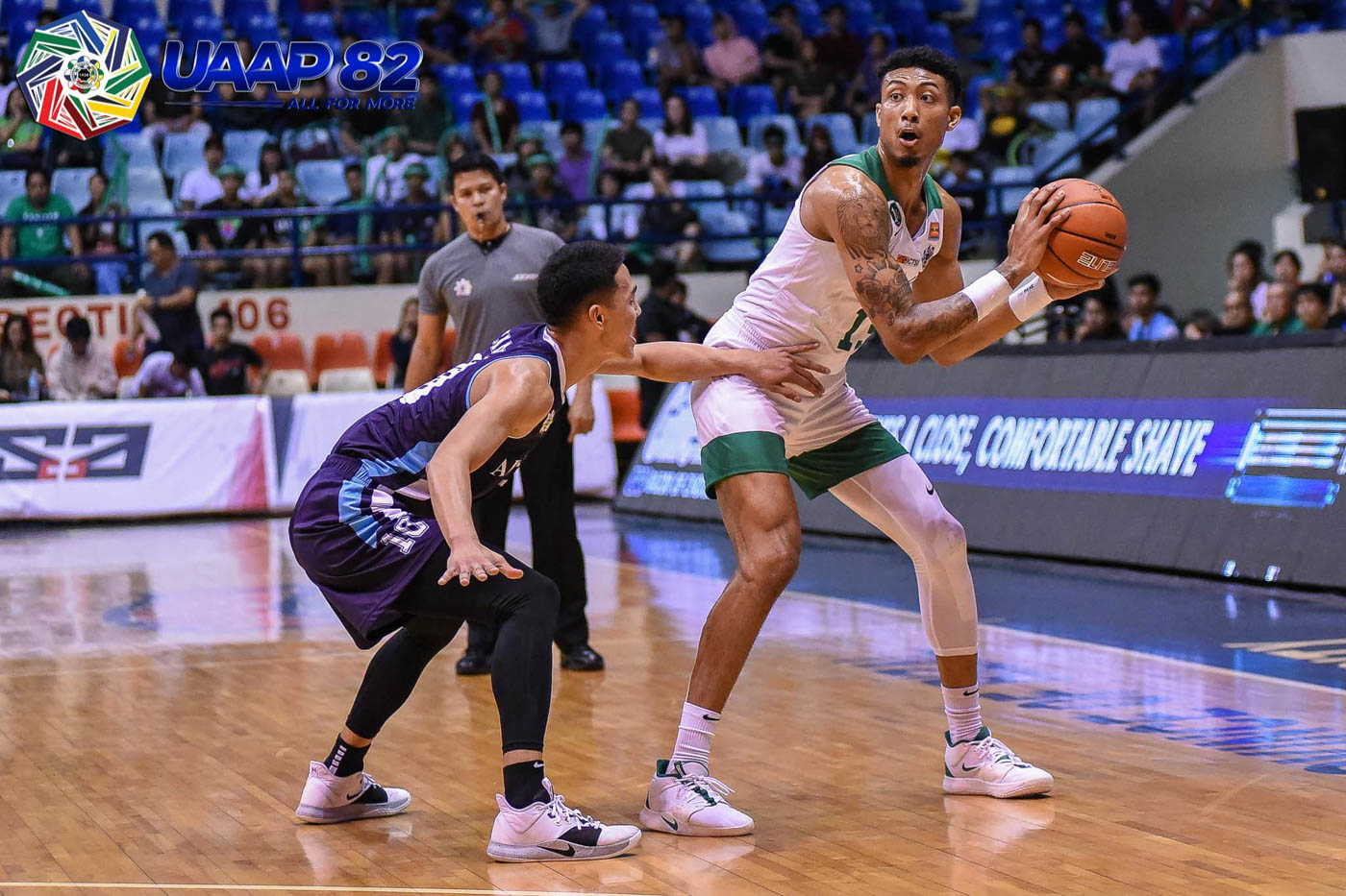 BIG BOOST. Fil-Am Jamie Malonzo, a consistent double-double performer, drops another one with 12 points and 11 rebounds to help the Green Archers pick up a second win. Photo release
