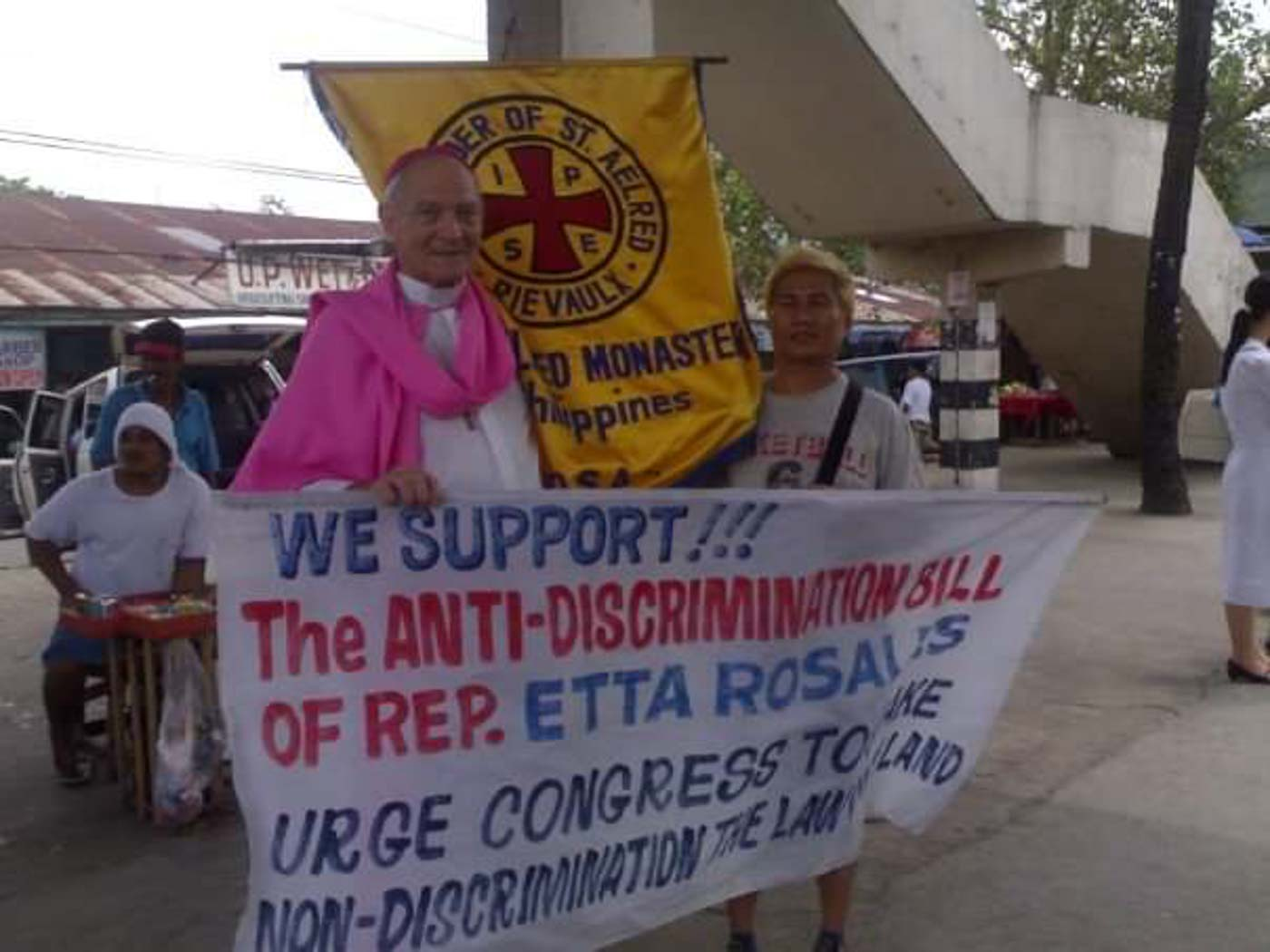 SUPPORTING ANTI-DISCRIMINATION BILL. Father Richard Mickley, representing the Order of St Aelred, shows support for the Anti-Discrimination Bill filed by Representative Etta Rosales. Photo courtesy of Father Richard Mickley
