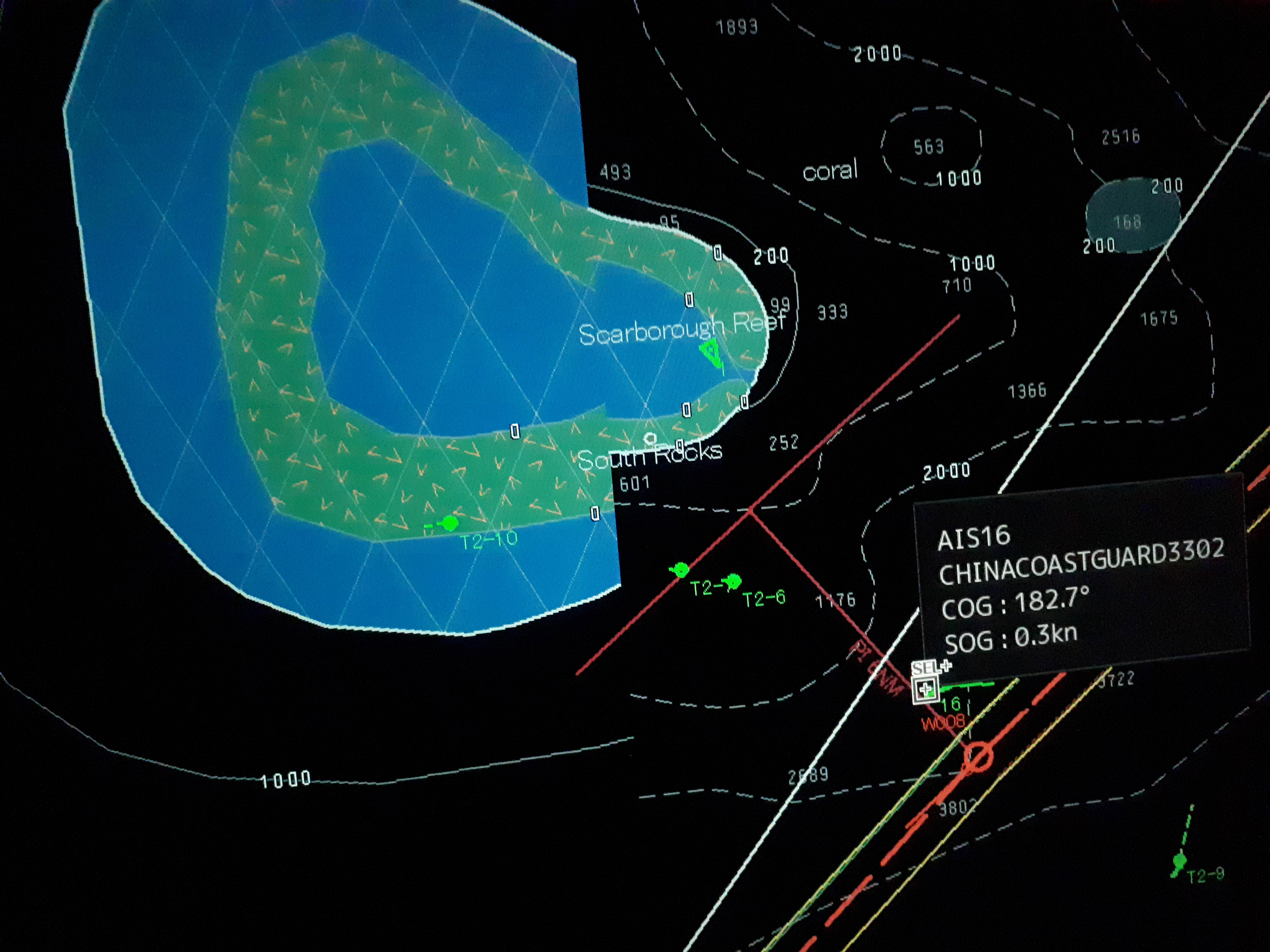 CHINESE WARSHIP? This photo from the Electronic Chart Display and Information System (ECDIS) of the oil tanker Green Aura indicates the presence of Chinese vessels near Scarborough Shoal on September 30, 2019. One of them calls itself a 'naval warship.' Photo courtesy of Captain Manolo Ebora