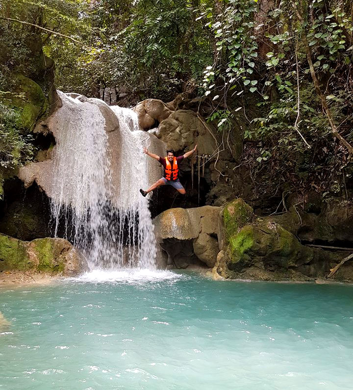 FALLS JUMP. The lower level of Kaparkan Falls is perfect for adrenaline-pumping jumps like this. Photo courtesy of Jan Vincent Francisco (facebook.com/GalaPH)