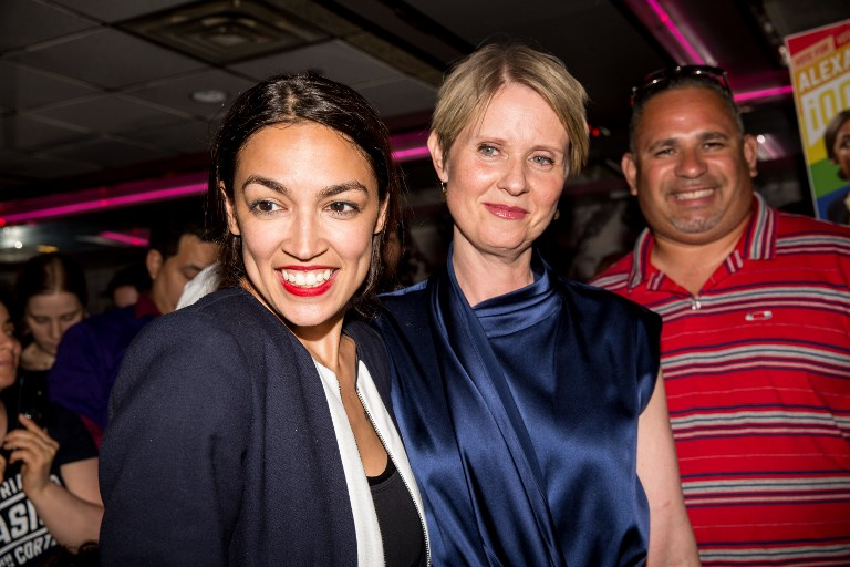 VICTORY PARTY. Progressive challenger Alexandria Ocasio-Cortez is joined by New York gubenatorial candidate Cynthia Nixon at her victory party in the Bronx after upsetting incumbent Democratic Representative Joseph Crowley on June 26, 2018 in New York City. Photo by Scott Heins/Getty Images/AFP