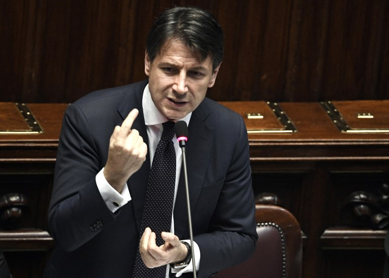 NEW GOVERNMENT. Italian premier Giuseppe Conte (C) speaks at the Lower House, ahead of a confidence vote on the government program, in Rome on June 6, 2018. File photo by Filippo Monteforte/AFP