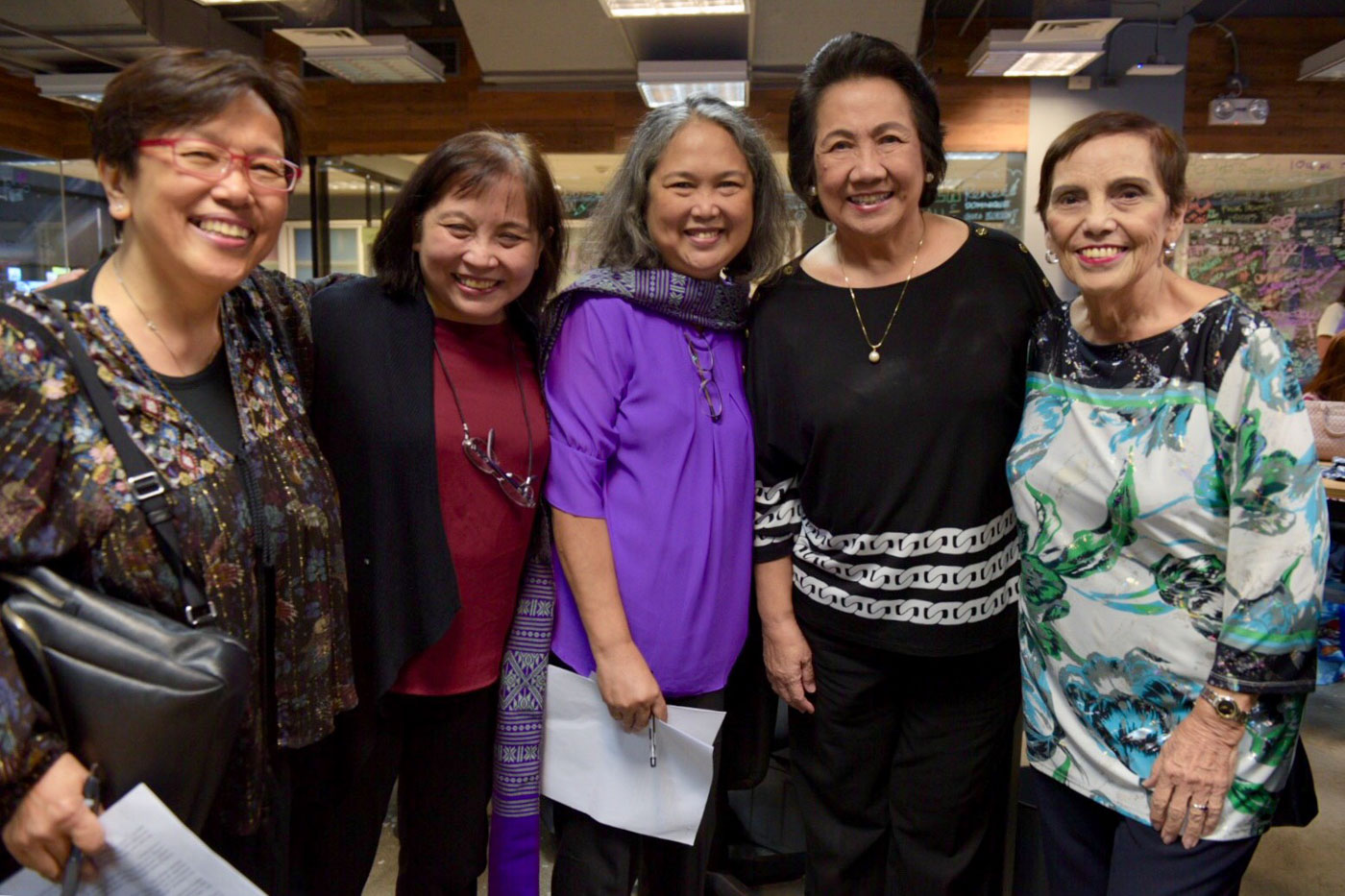 ADVOCATES. Author Marilen Dau00f1guilan (leftmost) poses with guests at the launch of 'The RH Bill Story: Contentions and Compromises.' Photo by Leanne Jazul/Rappler