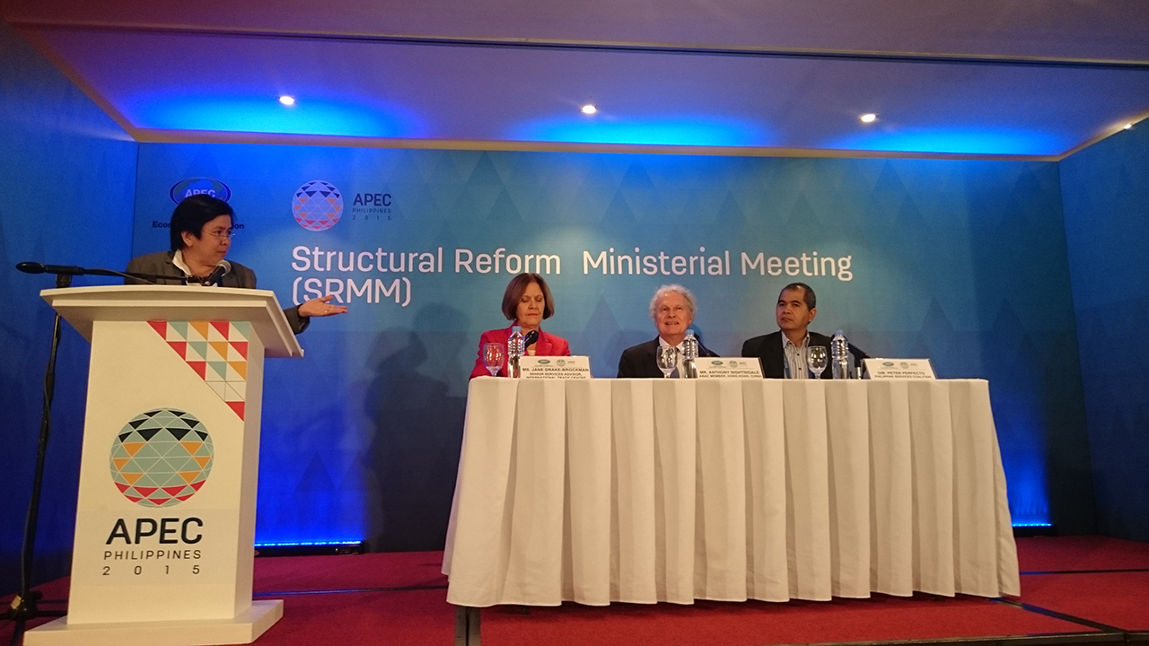 PIONEERS. The 3 who spearheaded the cause of the services sector at the APEC SRMM meeting (from left): Jane Drake-Brockman, Anthony Nightingale, and Peter Perfecto. All photos by Chris Schnabel / Rappler