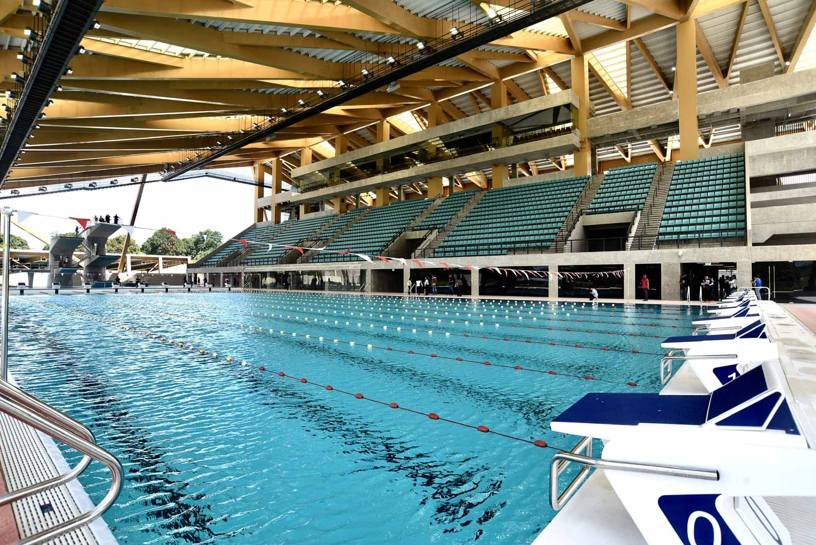 AQUATICS CENTER. The 'archipelagic lifestyle' in the Philippines is the inspiration behind the aquatics center, which has an 8-lane training pool, a 10-lane competition pool, and a 5-meter maximum depth diving pool with inland diving training facility. Photo by Angie de Silva/Rappler