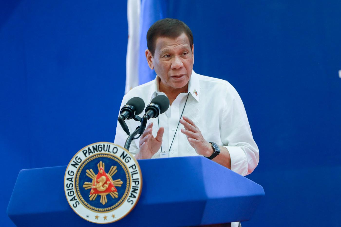 DUTERTE. President Rodrigo Duterte delivering a speech on January 29, 2020. Malacau00f1ang Photo