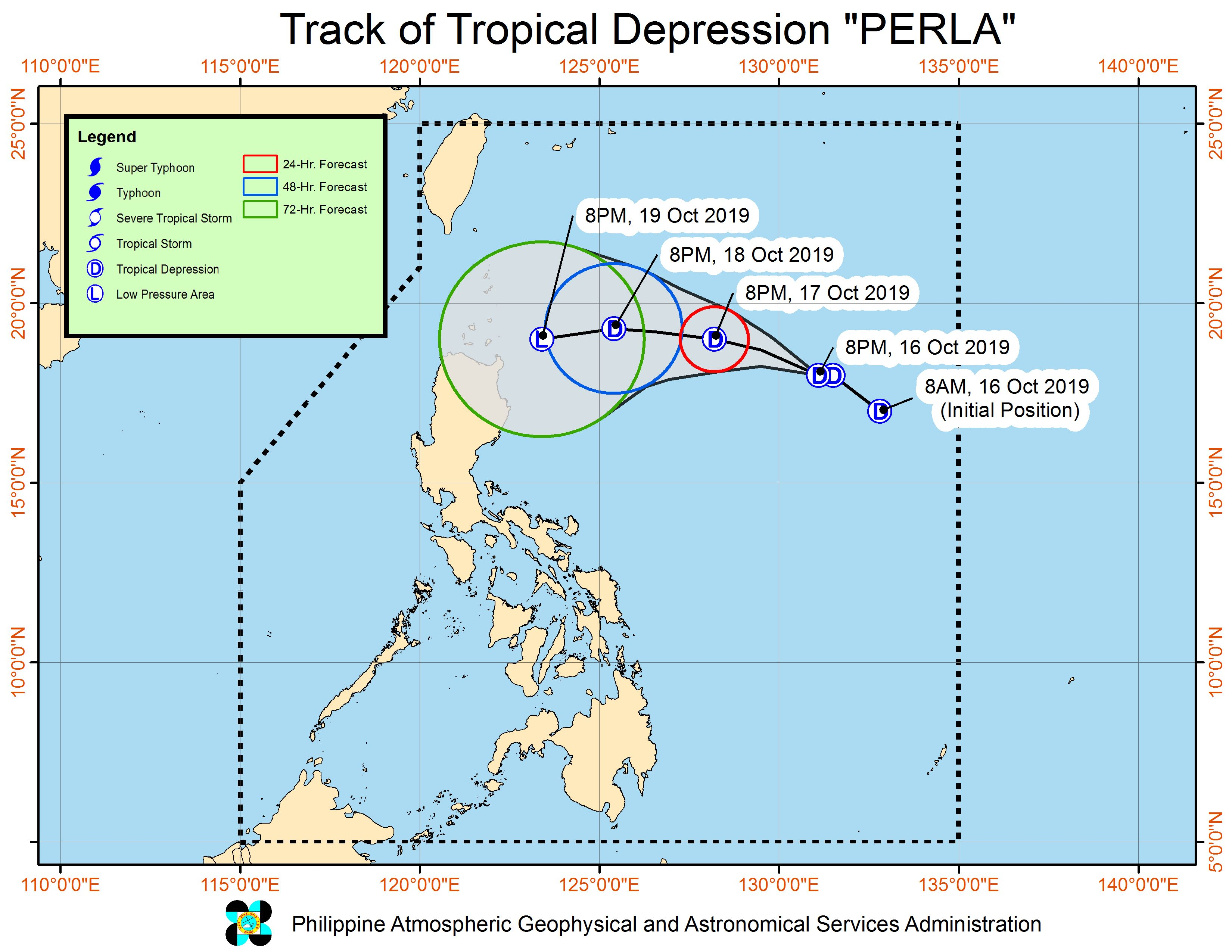 Forecast track of Tropical Depression Perla as of October 16, 2019, 11 pm. Image from PAGASA