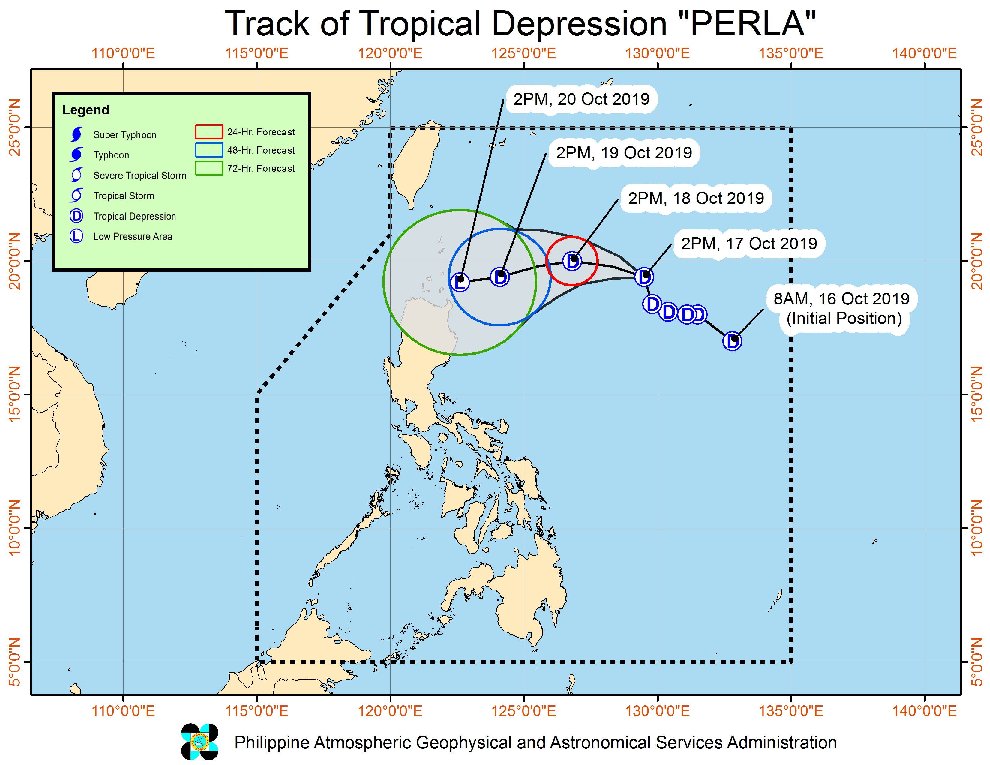 Forecast track of Tropical Depression Perla as of October 17, 2019, 5 pm. Image from PAGASA