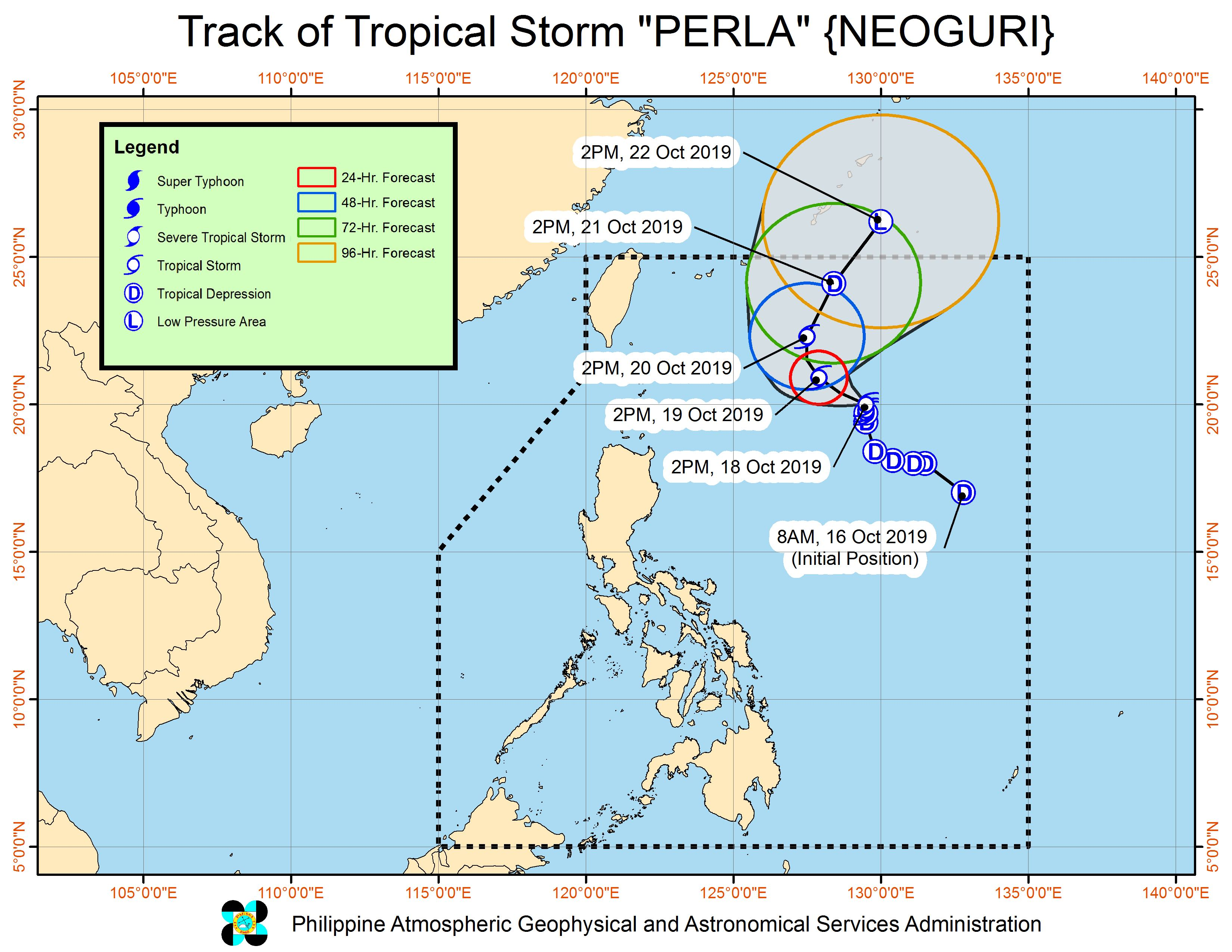 Forecast track of Tropical Storm Perla (Neoguri) as of October 18, 2019, 5 pm. Image from PAGASA