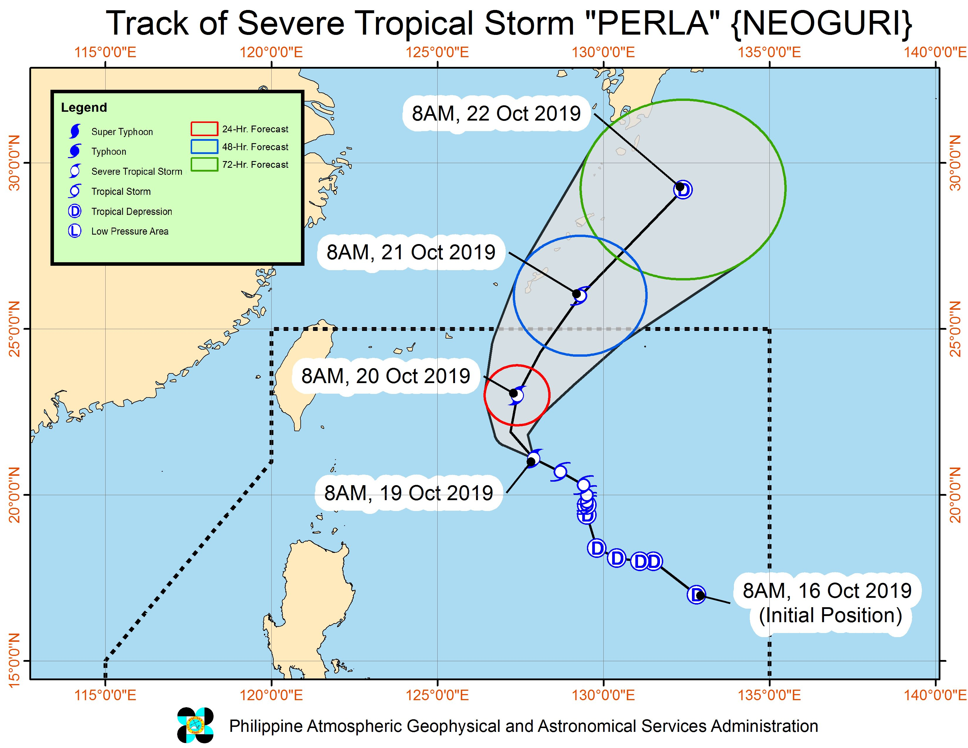 Forecast track of Severe Tropical Storm Perla (Neoguri) as of October 19, 2019, 11 am. Image from PAGASA
