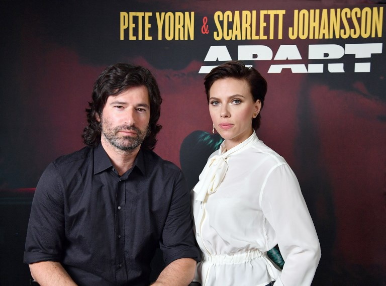 APART. Pete Yorn and Scarlett Johansson pose for a picture as they announce the launch of their new extended play record 'Apart' on May 22 in New York City. Their EP came out on June 1. Photo by Angela Weiss/ / AFP
