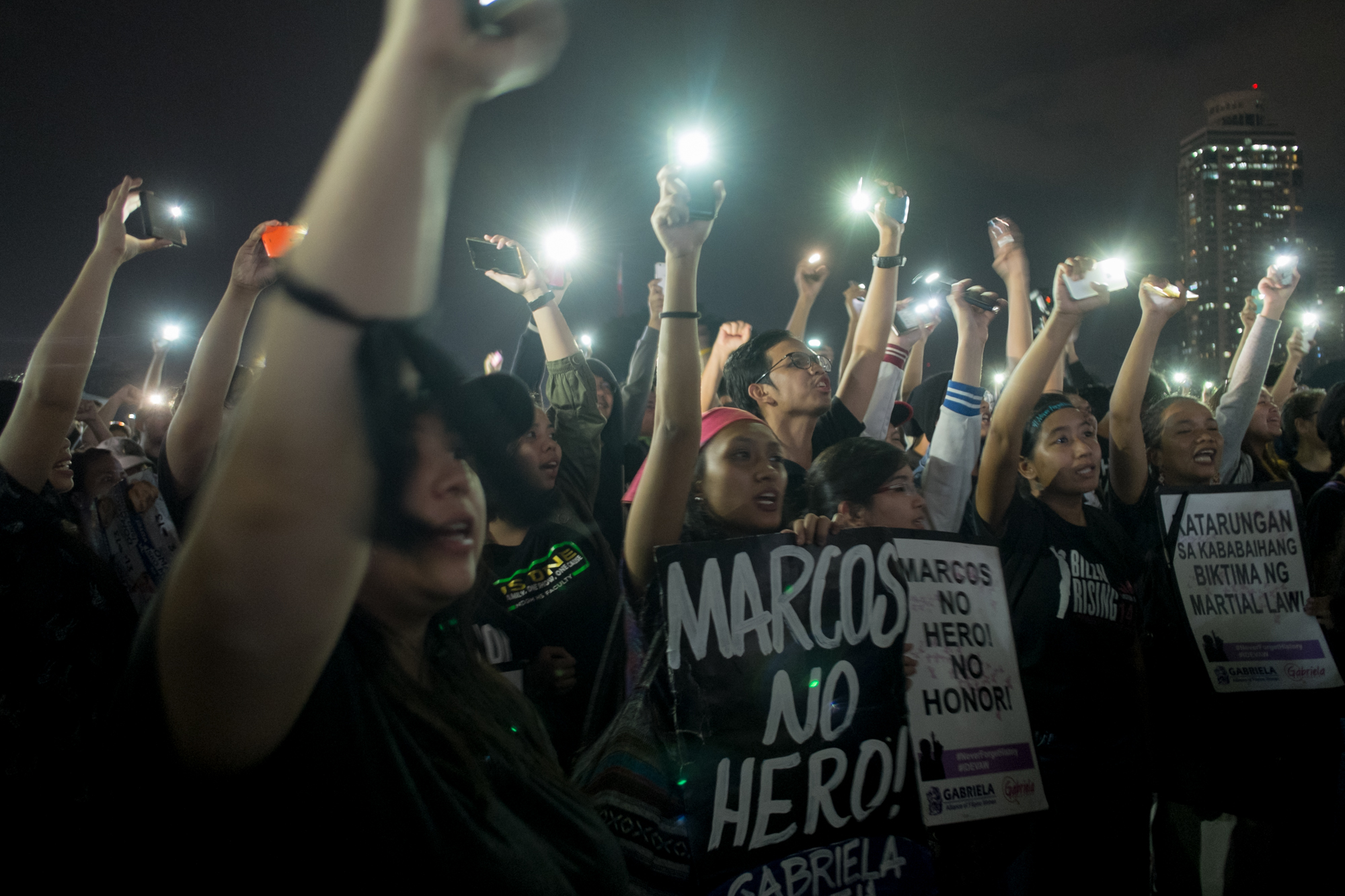 NEW WAVE. A new generation of anti-Marcos protesters at the Luneta on Friday, November 25. Photo by Melvyn Calderon