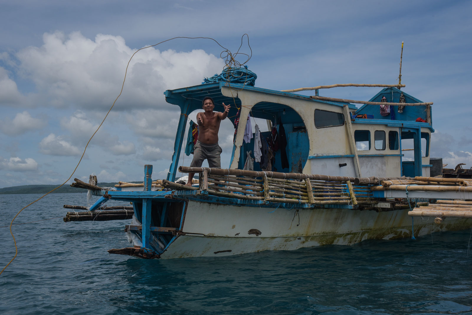 OFF-SHORE. The F/B Gem-Ver floats 5 minutes away by boat from the shore of Barangay San Roque in San Jose, Occidental Mindoro. All photos by LeAnne Jazul/Rappler