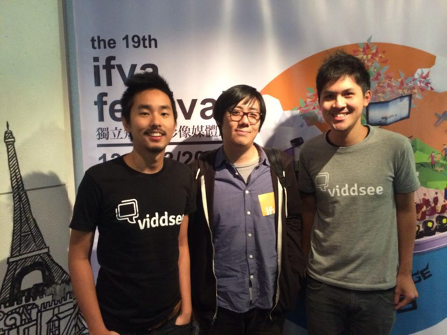 GOING PLACES. Derek Tan (right) with Viddsee co-founder Ho Jia Jian (left) and Arvin Chen (middle) director of Taiwanese films Mei and Au Revoir Taipei. All photos from Viddsee / Derek Tan