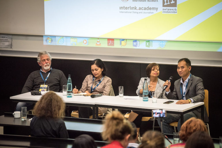 SUE THEM. Peru's Gustavo Gorriti (left) says his newspaper sued individuals who spread lies against journalists. Myanmar's Swe Win (this year's Ramon Magsaysay awardee) also joined us in a panel on 'When autocrats attack' moderated by Sheila Coronel last Friday, September 27, 2019, at Hafen University in Hamburg, Germany. GIJN photo.