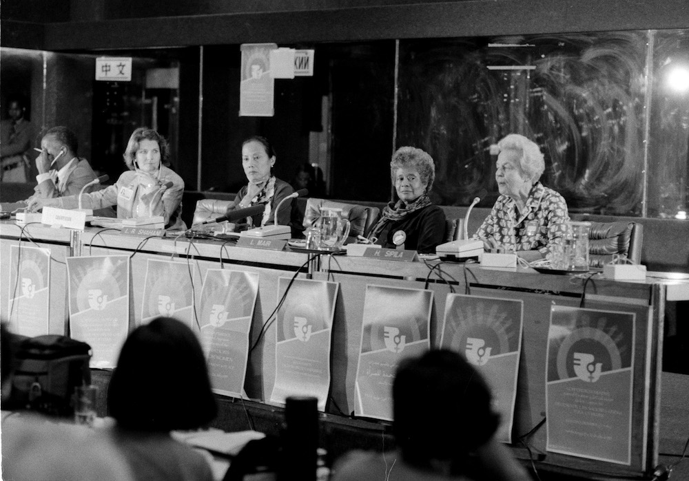 LEADING WOMEN. Leticia Shahani (3rd from left), Secretary-General of the Nairobi UN Women's Conference, at a press conference during the United Nations Women's Decade meeting in Nairobi, Kenya, July 15, 1985. UN Photo/Milton Grant