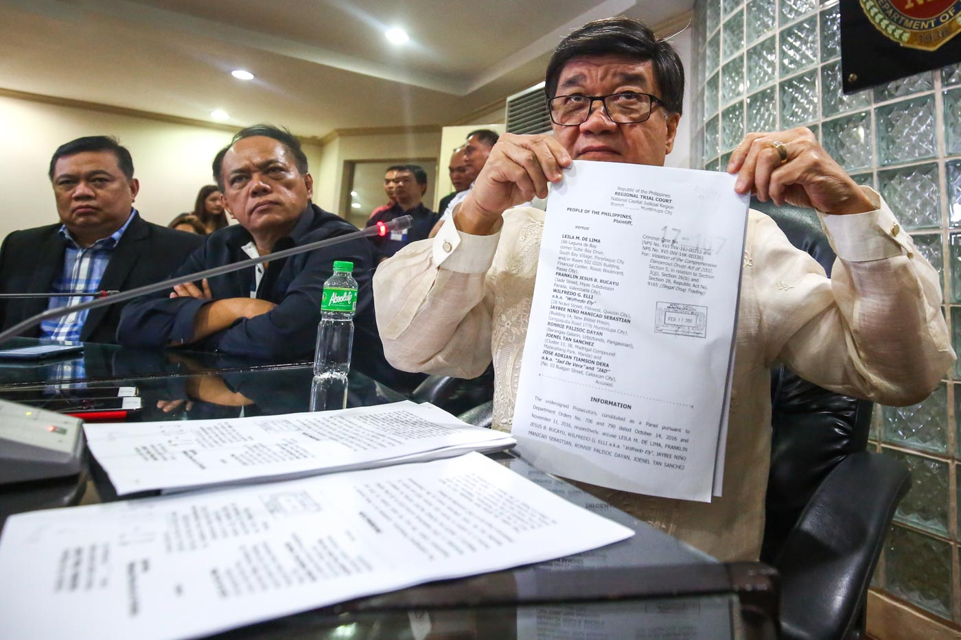 DRUG CASE. Justice Secretary Vitaliano Aguirre shows the case filed against Senator Leila De Lima and others in connection with the illegal drug trade inside the New Bilibid Prison on February 17, 2017. Photo by Ben Nabong/Rappler