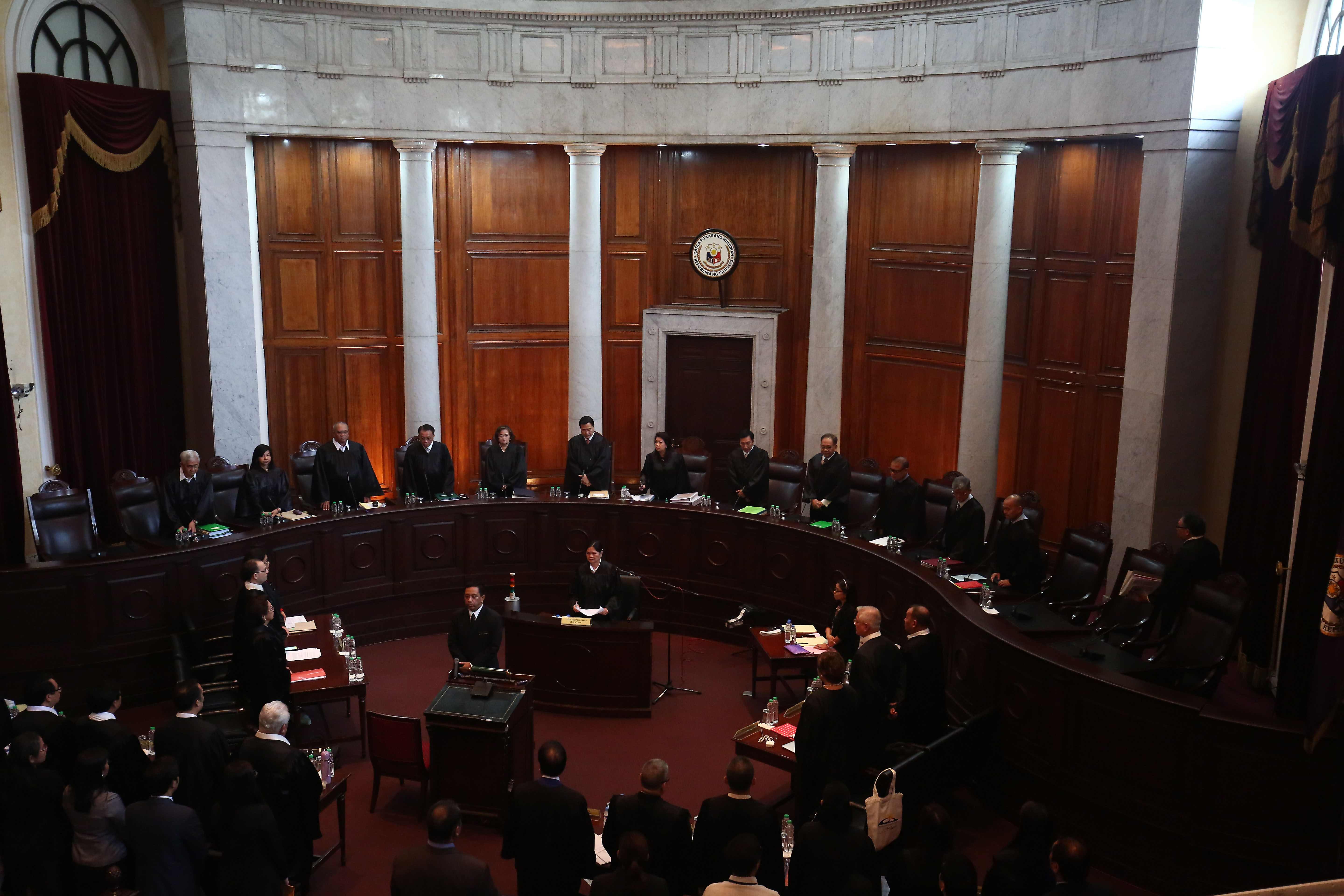 ORAL ARGUMENTS. Supreme Court justices enter as the oral arguments on the proposed burial of late dictator Ferdinand Marcos at the Libingan ng mga Bayani starts at the Supreme Court in Manila on August 31, 2016. Photo by Ben Nabong/Rappler