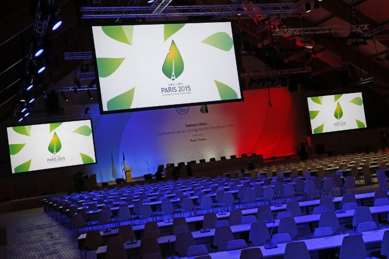 The conference room of the COP21, the UN Conference on Climate Change, is pictured at the COP21 conference center in Le Bourget, north of Paris, on November 28, 2015. Thomas Samson/AFP