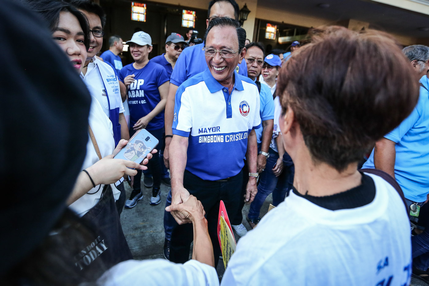 Quezon City mayoralty candidate Bingbong Crisologo lead a Unity Walk cum proclamation rally at the San Pedro Bautista Church on March 29, 2019. Photo by Jire Carreon/Rappler