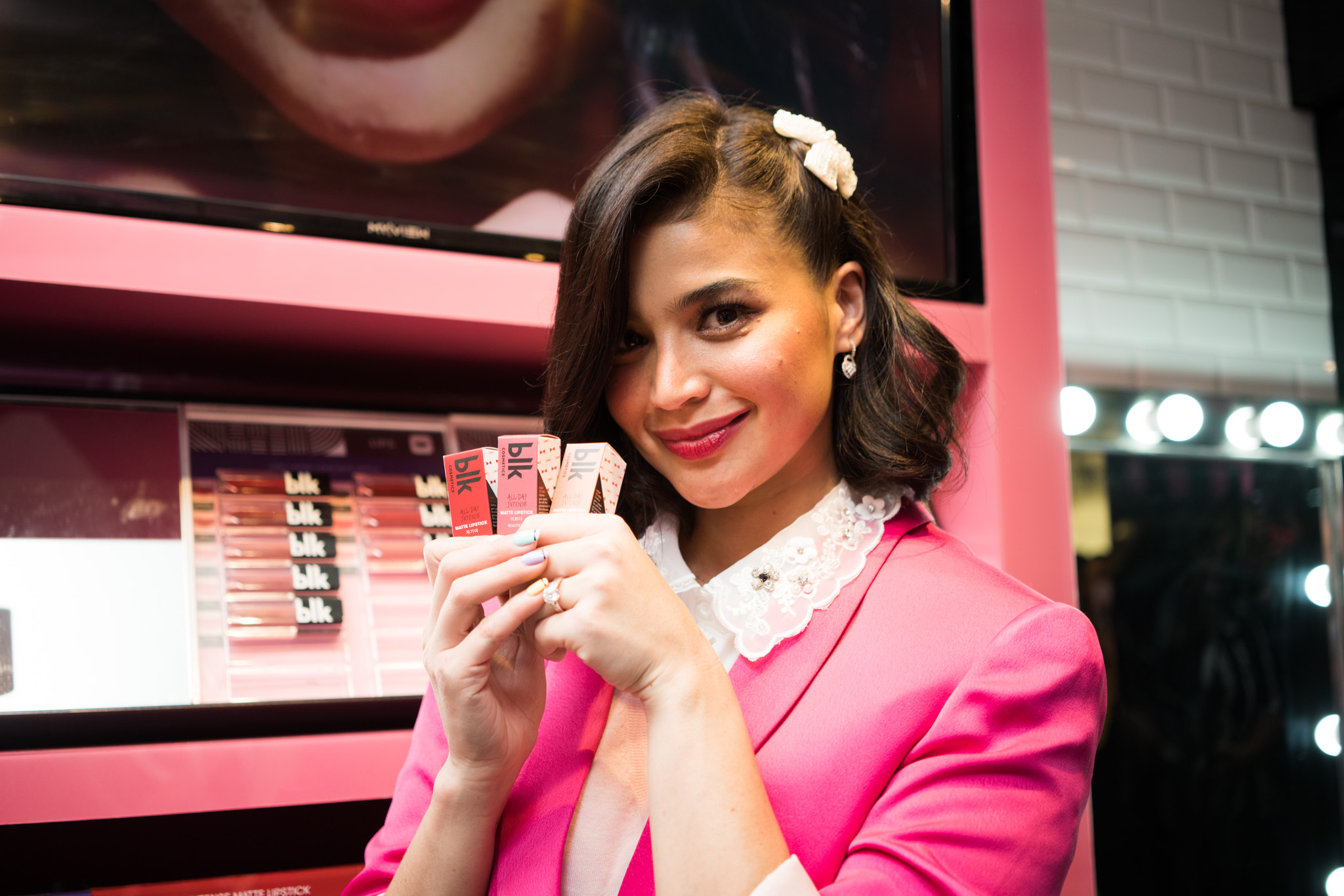 LIPPIE LOVE. The star shows some of the brand's best-selling lipsticks.