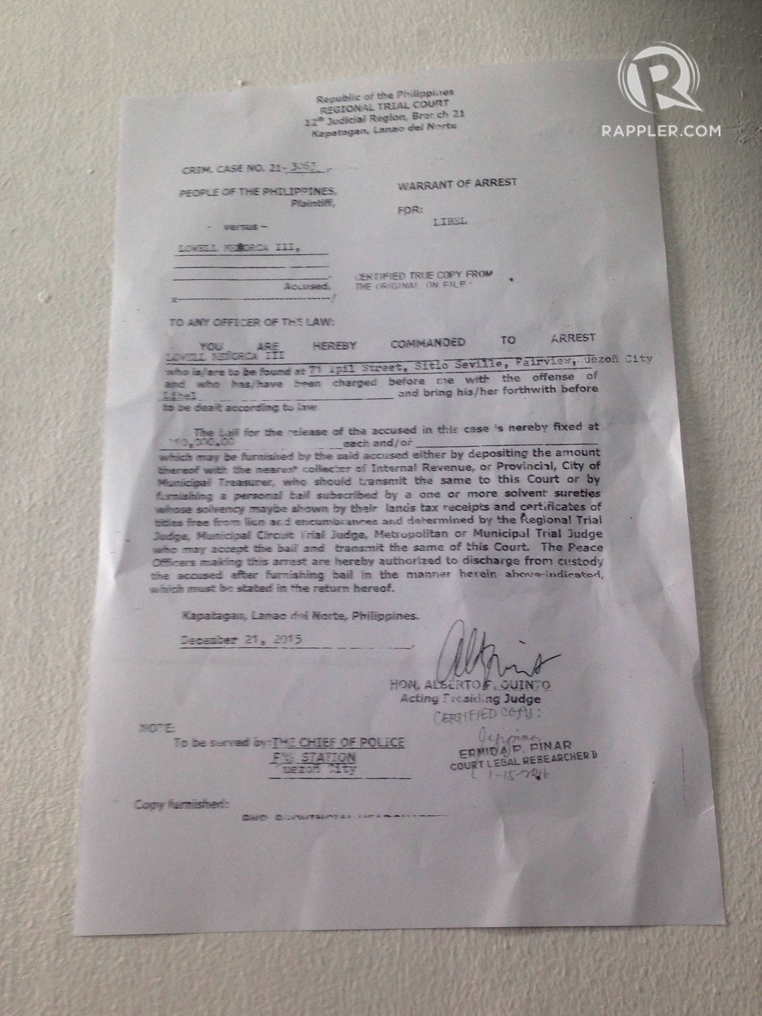 WARRANT OF ARREST. The warrant of arrest, dated December 21, 2015, issued by the Regional Trial Court in Kapatagan, Lanao del Norte. Photo by Katerina Francisco/Rappler