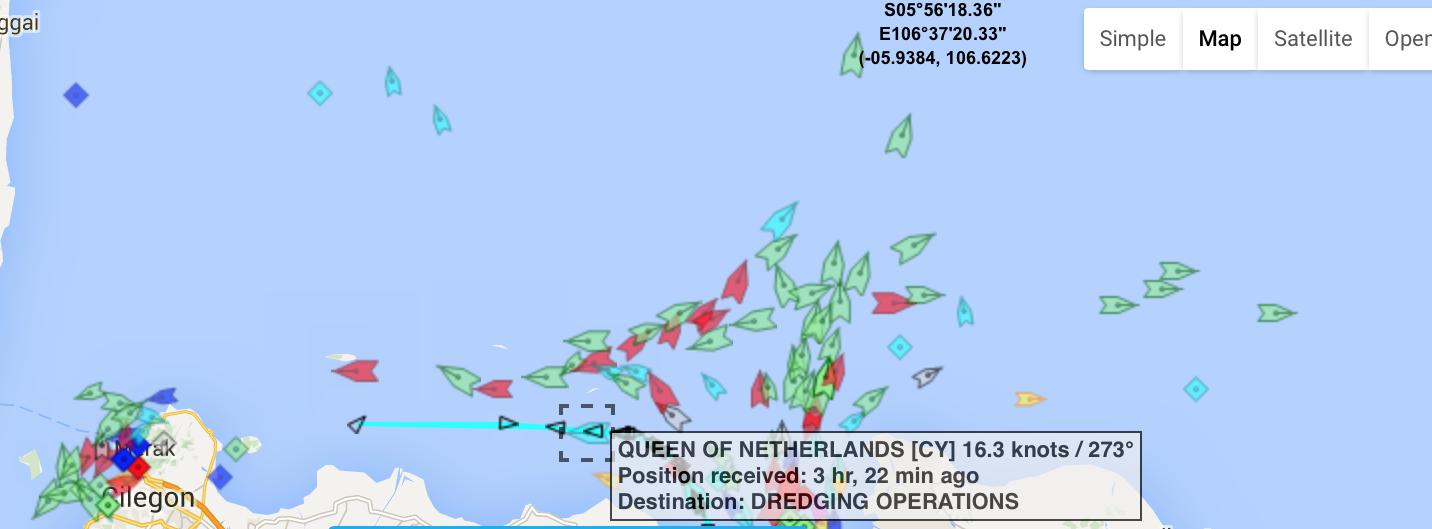 Pergerakan kapal Queen of The Netherlands sebagaimana terekam dari situs Marine Traffic, pada 28 April 2016.