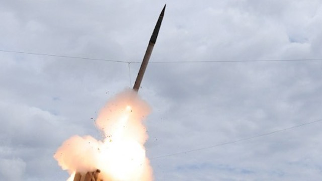 FIRST. This March 18, 2009 handout image courtesy of the US Missile Defense Agency shows the launch of the Terminal High Altitude Area Defense missile during a test on March 17.  File photo by US Missile Defense Agency/Handout/AFP