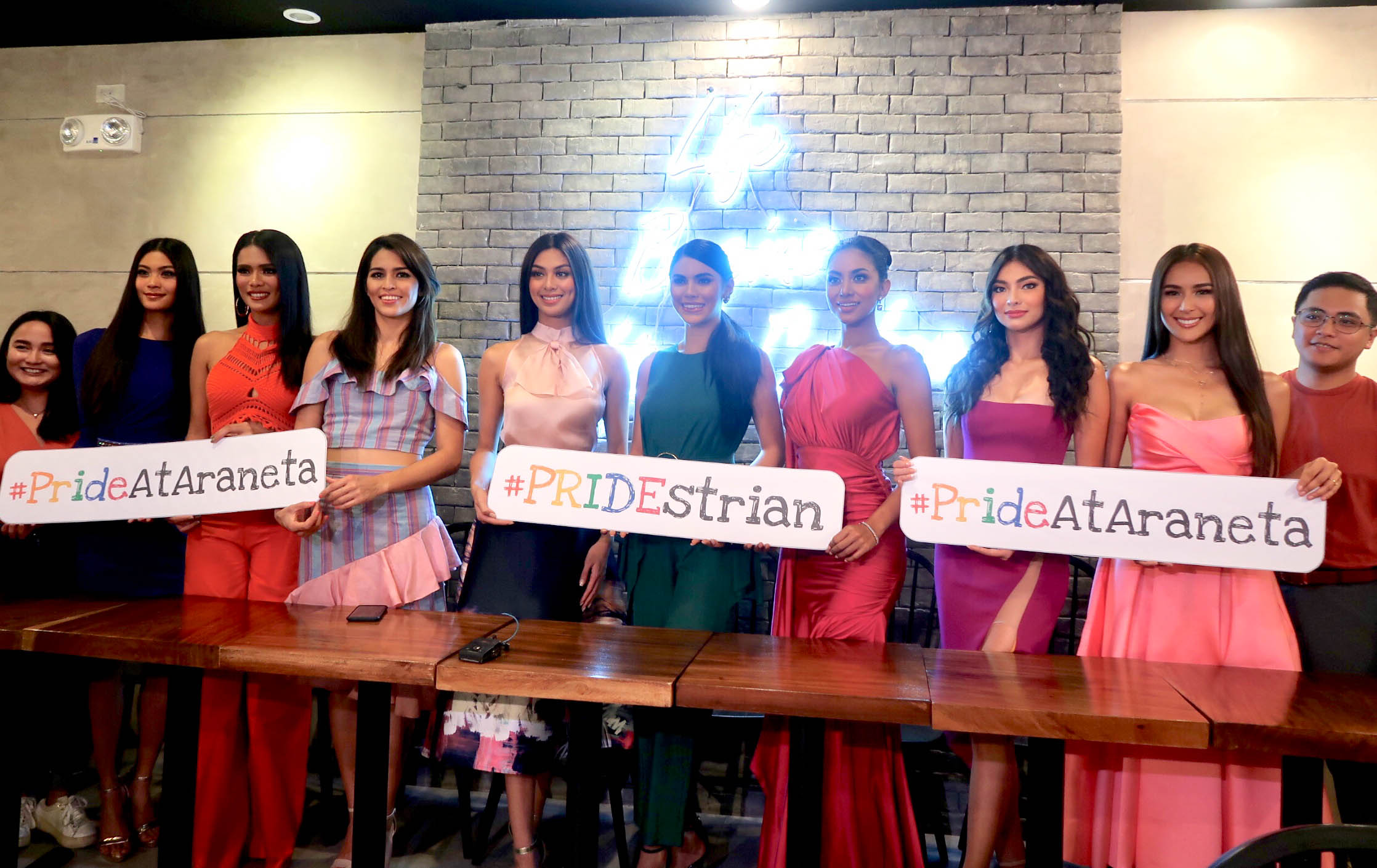 SUPPORT. The Bb Pilipinas queens during the press conference to show support for Pride Month.