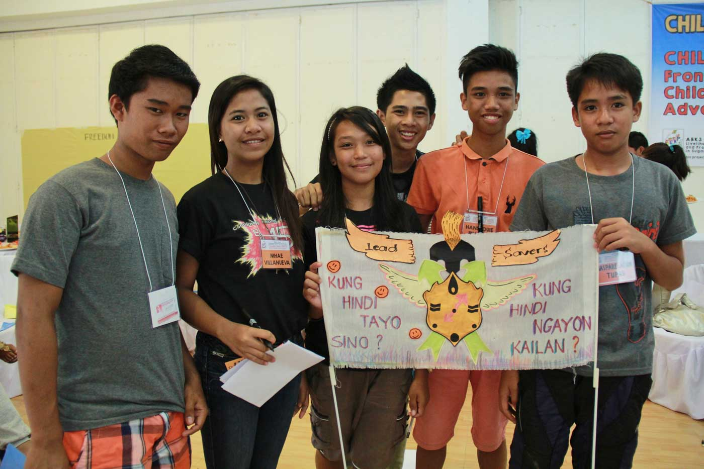 EMPOWERED YOUTH. Conejar (center) with some ABK3 Leap participants at the Children and Youth Forum in May 2015. Photo by World Vision