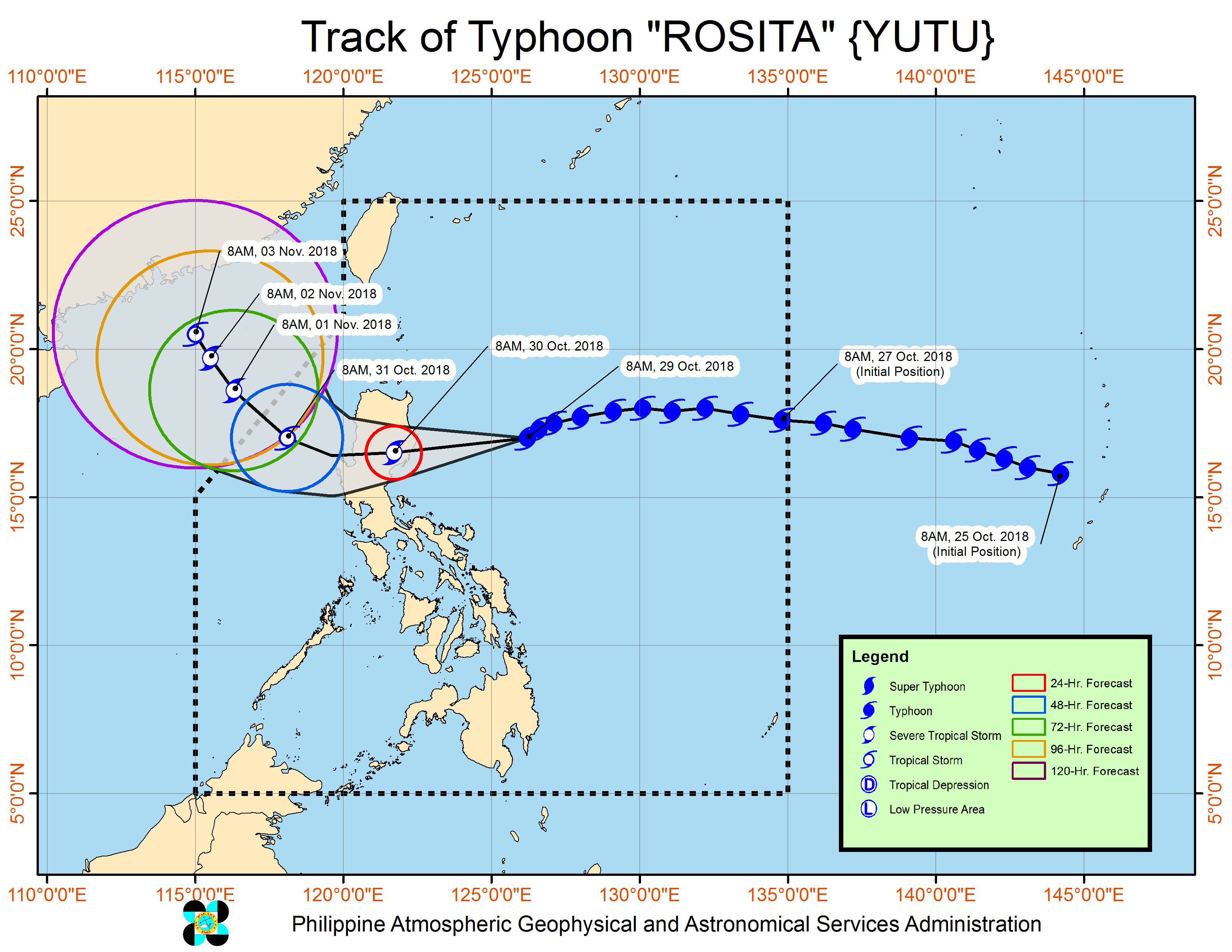 Forecast track of Typhoon Rosita (Yutu) as of October 29, 2018, 11 am. Image from PAGASA