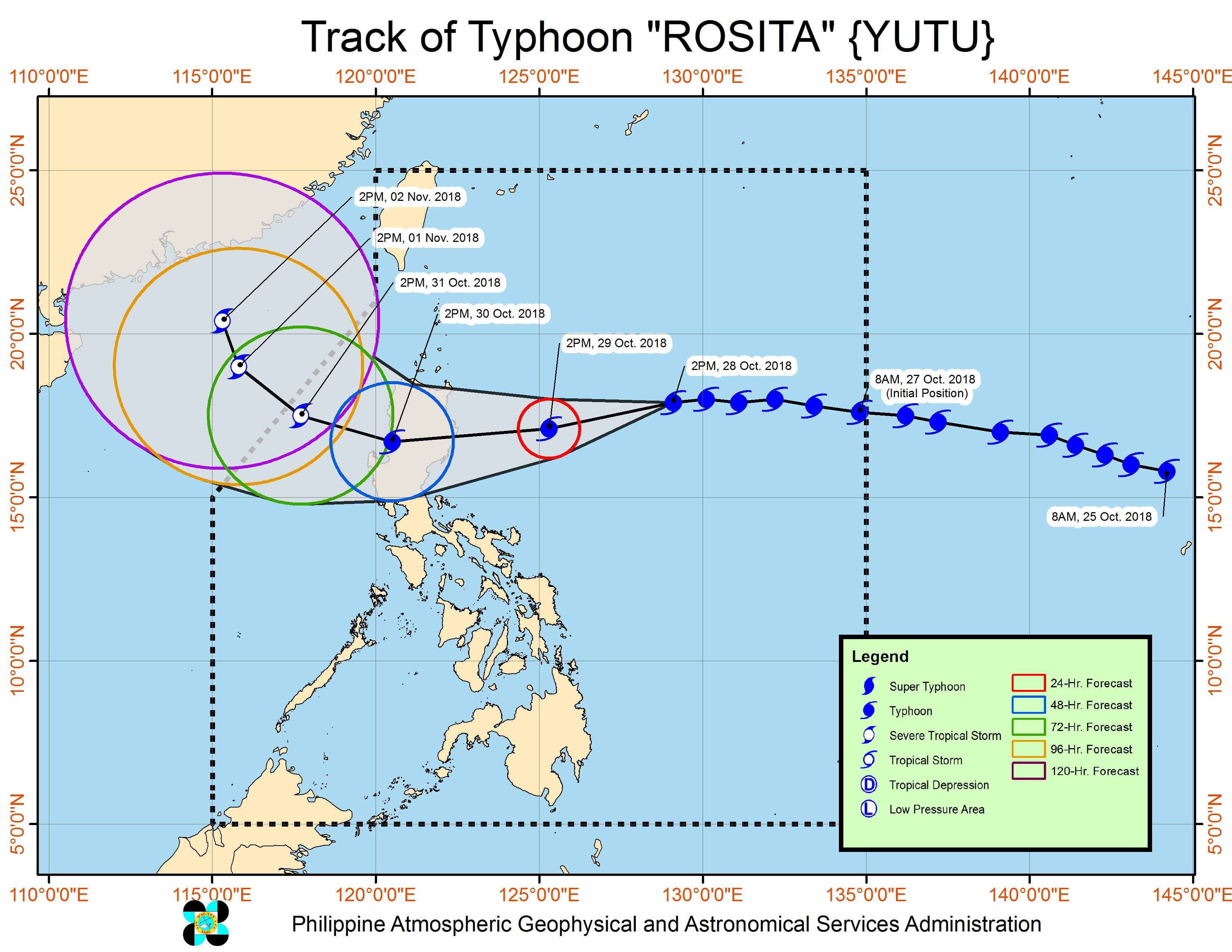 Forecast track of Typhoon Rosita (Yutu) as of October 28, 2018, 5 pm. Image from PAGASA