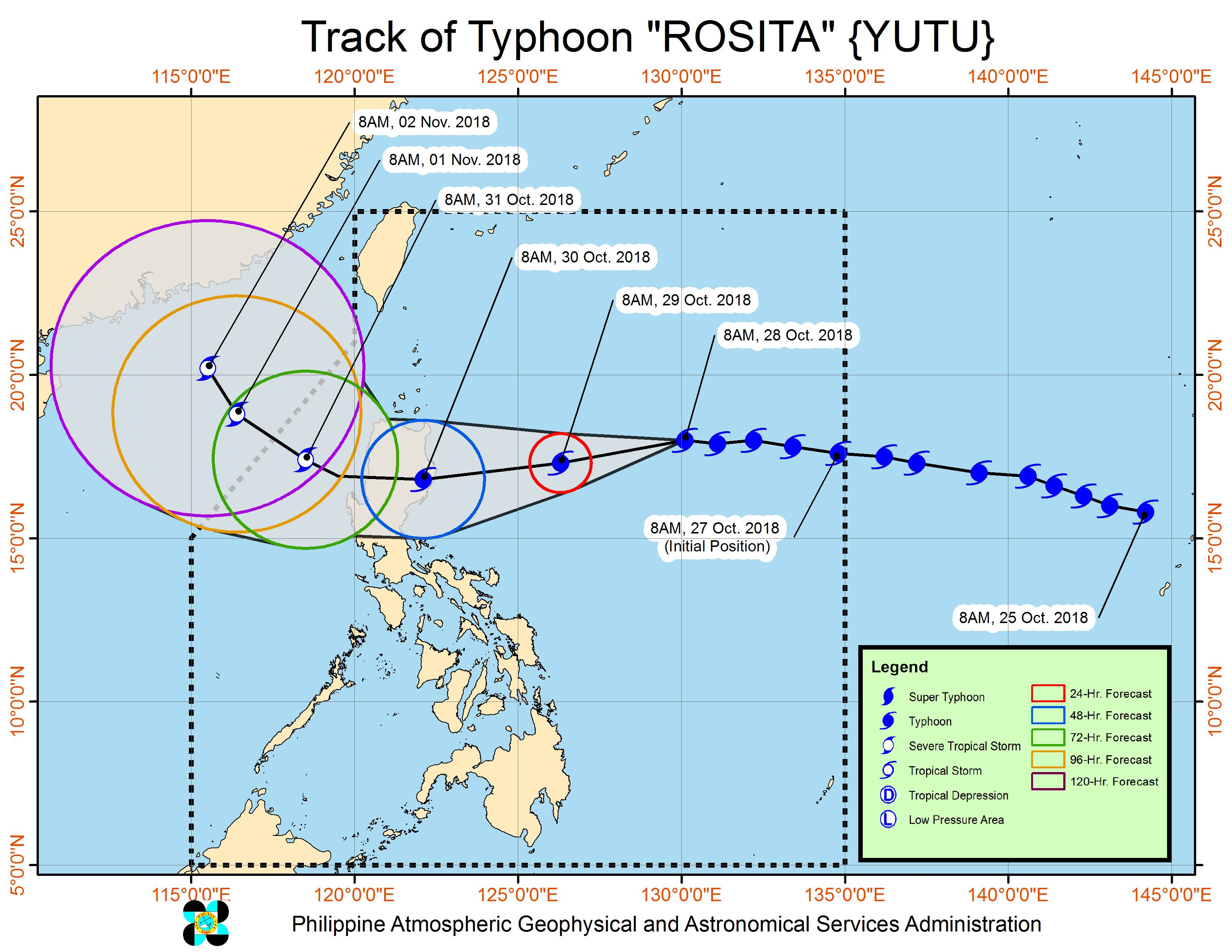Forecast track of Typhoon Rosita (Yutu) as of October 28, 2018, 11 am. Image from PAGASA