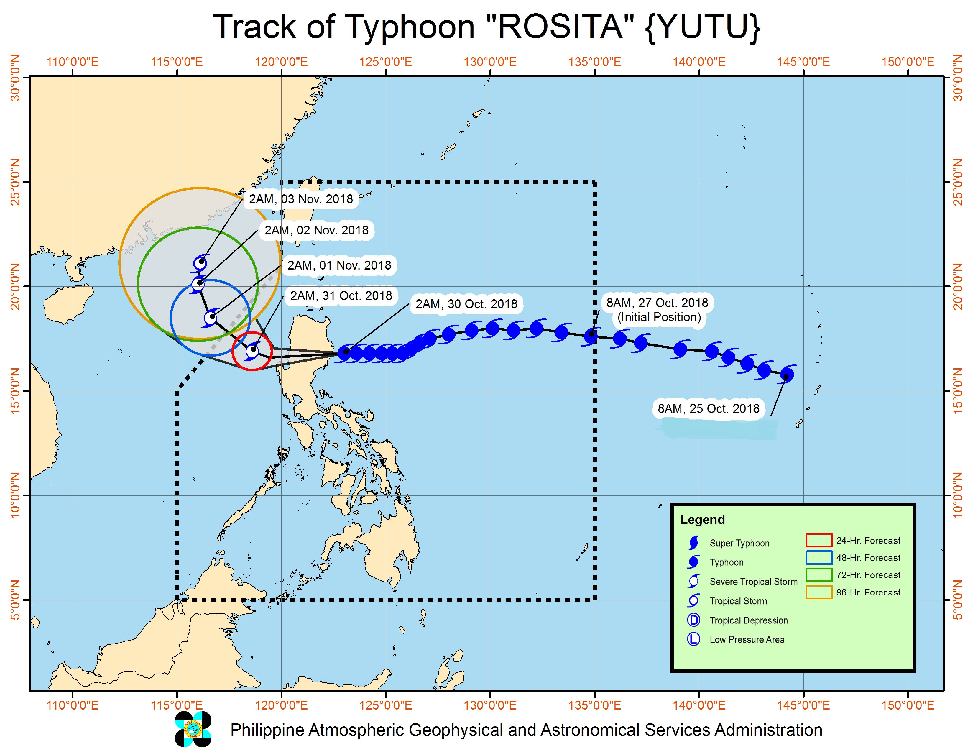 Forecast track of Typhoon Rosita (Yutu) as of October 30, 2018, 5 am. Image from PAGASA