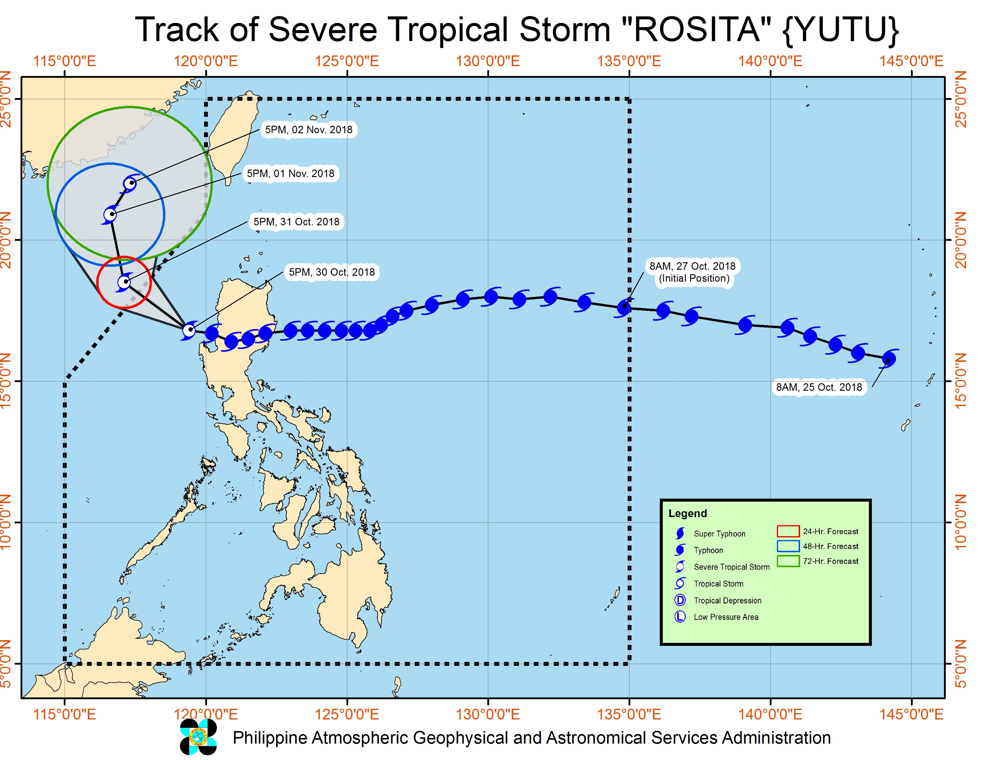 Forecast track of Severe Tropical Storm Rosita (Yutu) as of October 30, 2018, 8 pm. Image from PAGASA