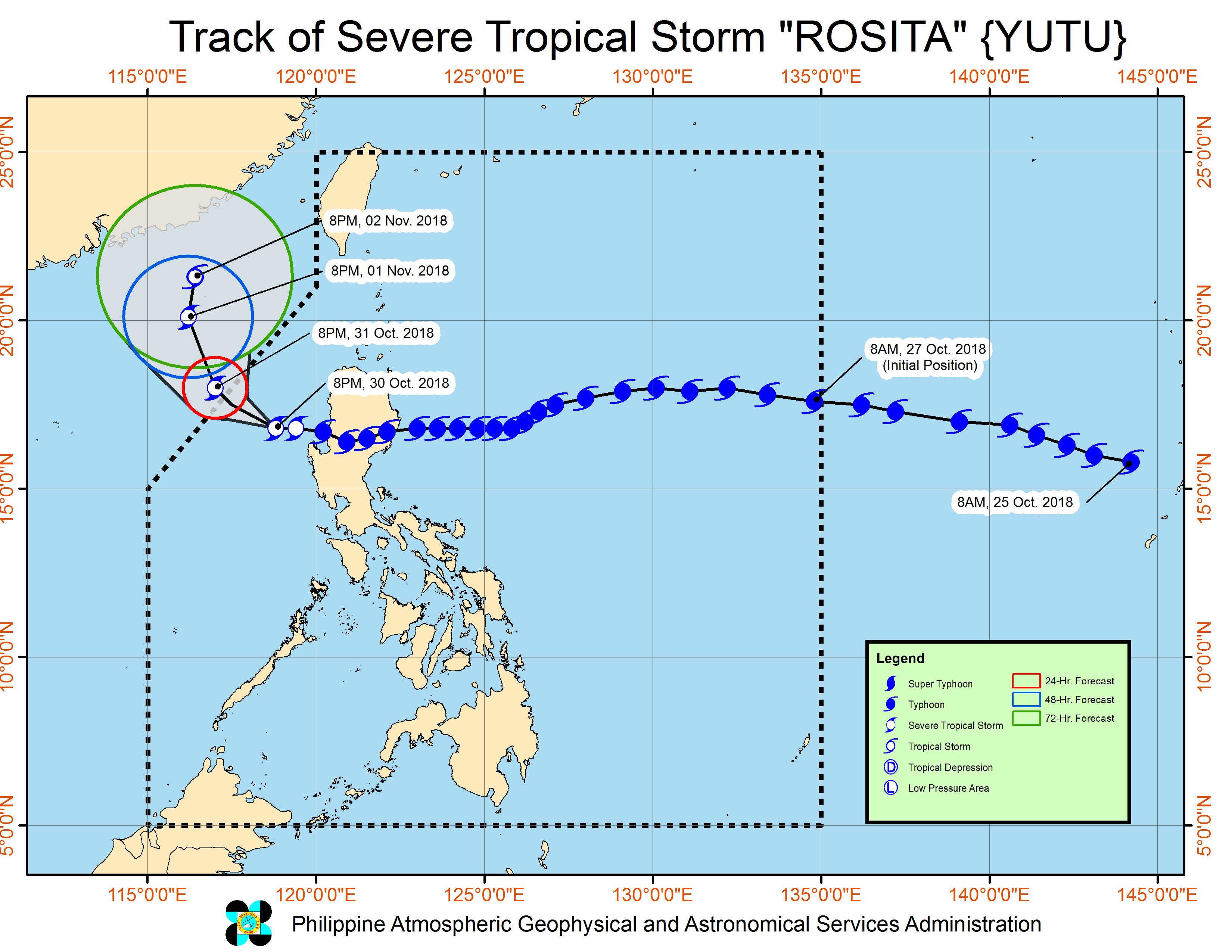 Forecast track of Severe Tropical Storm Rosita (Yutu) as of October 30, 2018, 11 pm. Image from PAGASA