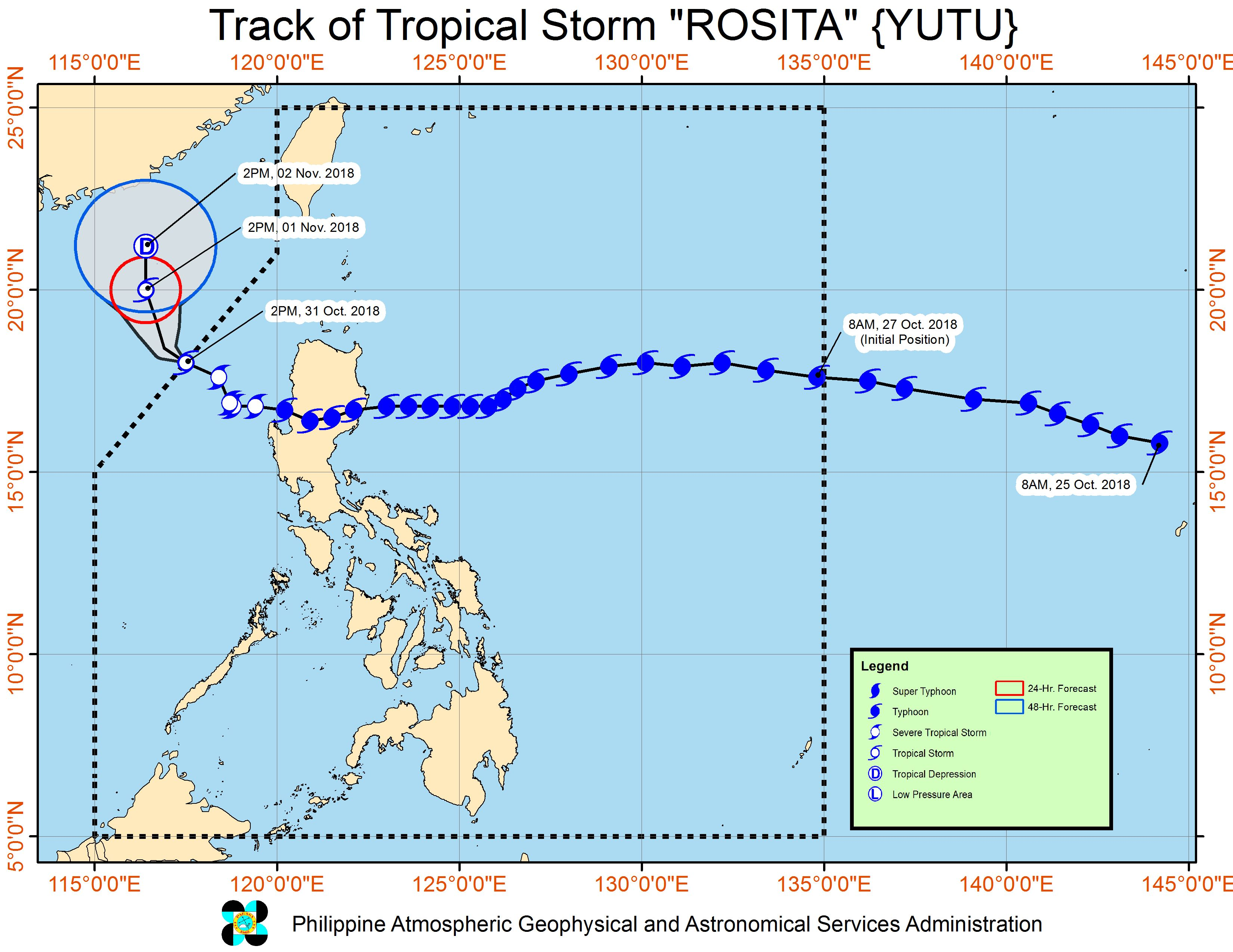 Forecast track of Tropical Storm Rosita (Yutu) as of October 31, 2018, 5 pm. Image from PAGASA