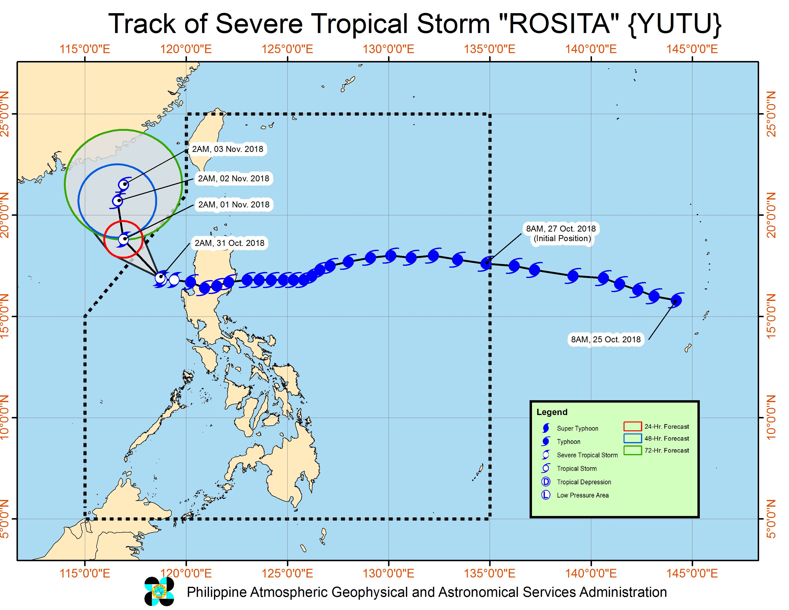 Forecast track of Severe Tropical Storm Rosita (Yutu) as of October 31, 2018, 5 am. Image from PAGASA
