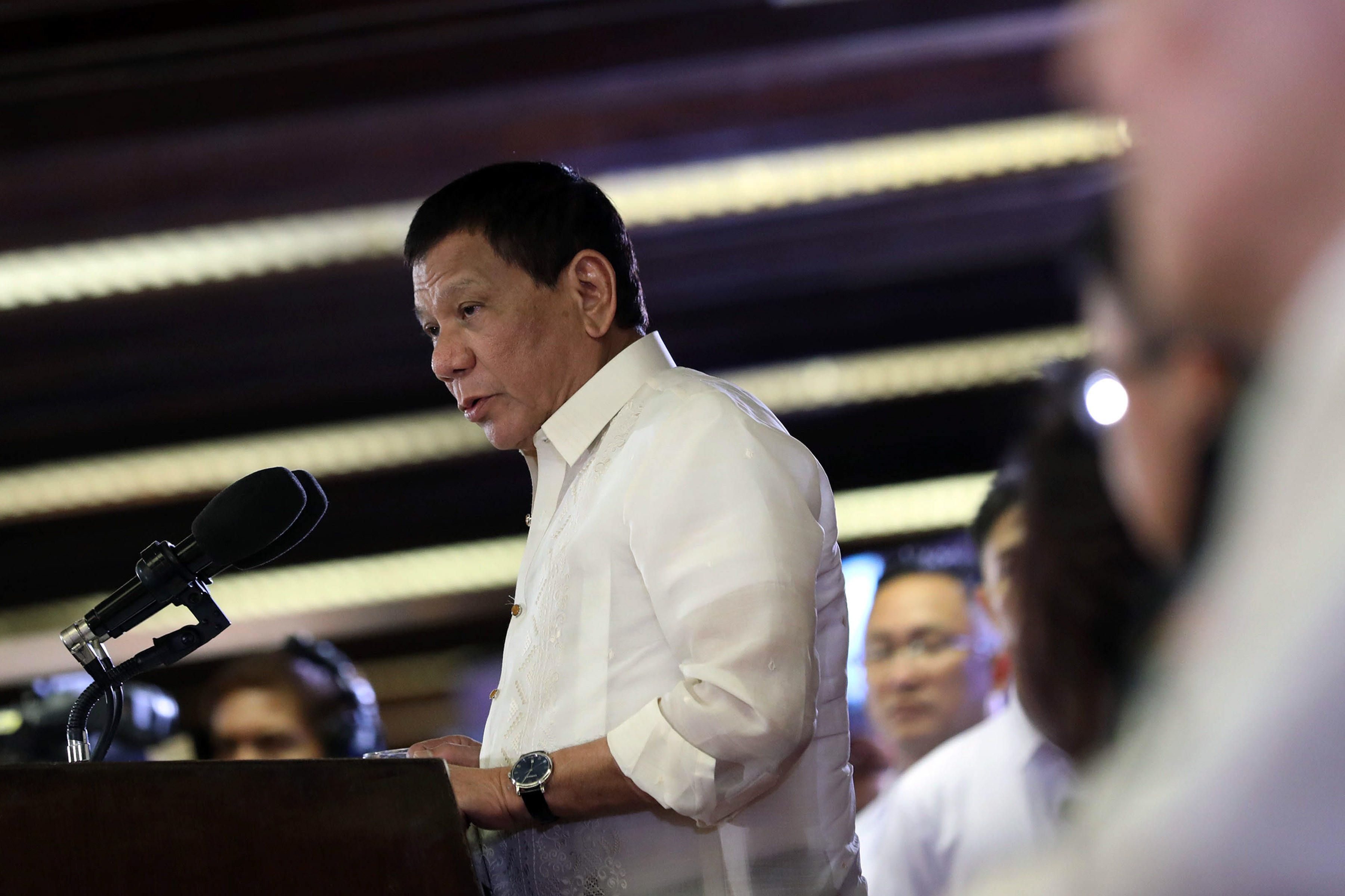 MY BUSINESS. President Duterte says it's his job to listen even to marital troubles of government officials. Presidential photo