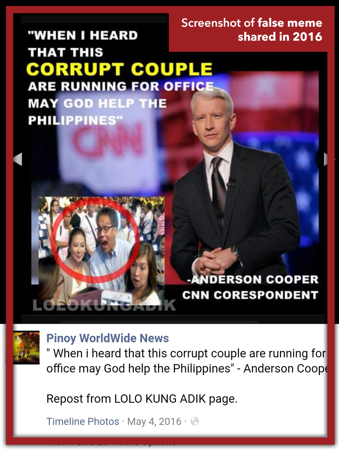 ORIGINALLY SHARED IN 2016. The meme was from two years ago, circulated during the 2016 elections where Roxas ran for presidency