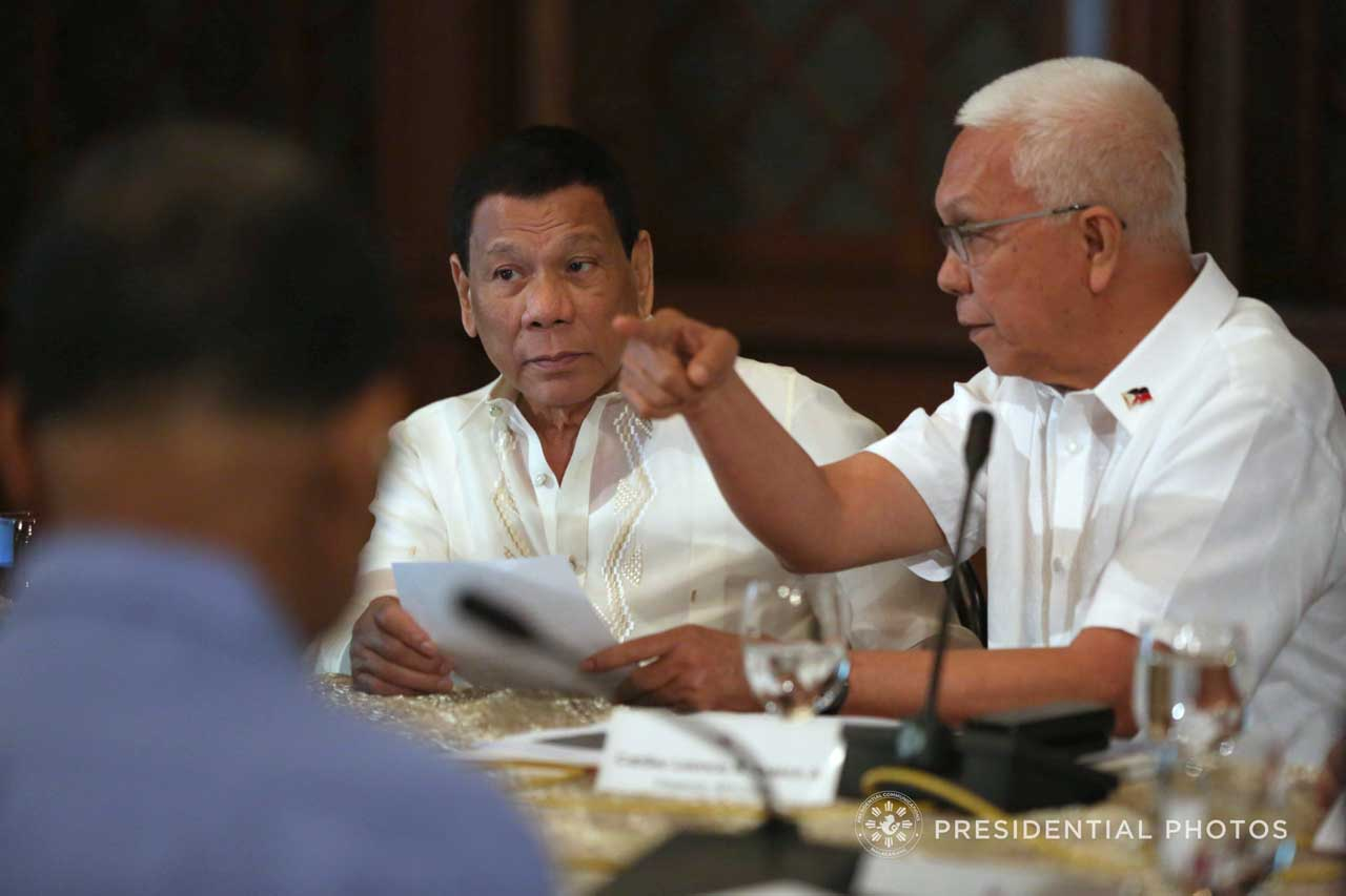 REORGANIZATION. President Rodrigo Duterte transfers the National Food Authority to the Department of Agriculture, effectively booting out NFA Council Chair and Cabinet Secretary Leoncio Evasco Jr. Malacau00f1ang file photo