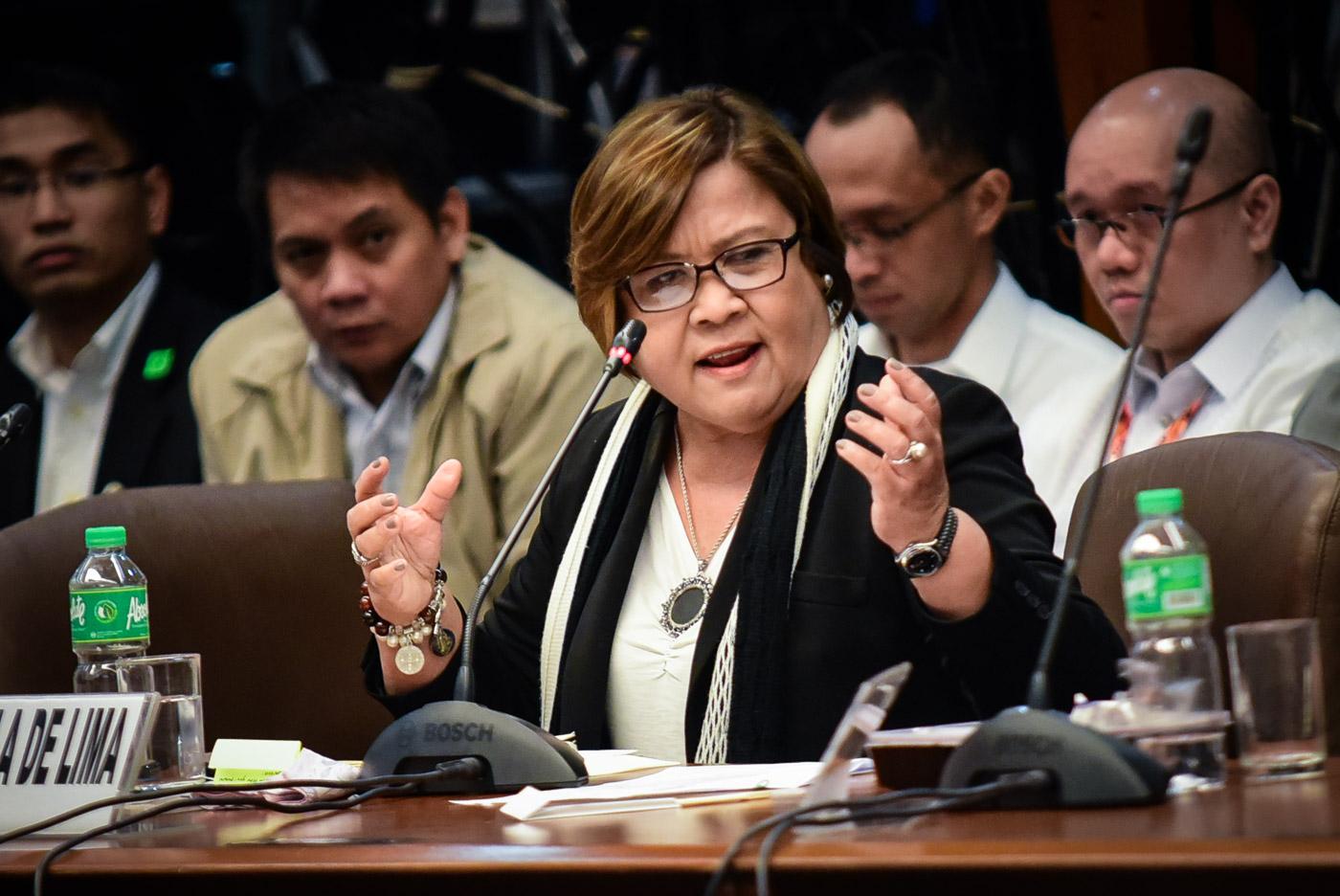 ESPINOSA PROBE. Senator Leila de Lima, who has been accused of getting drug money from Kerwin Espinosa, at the Senate probe into the death of the late mayor Espinosa. Photo by LeAnne Jazul/Rappler