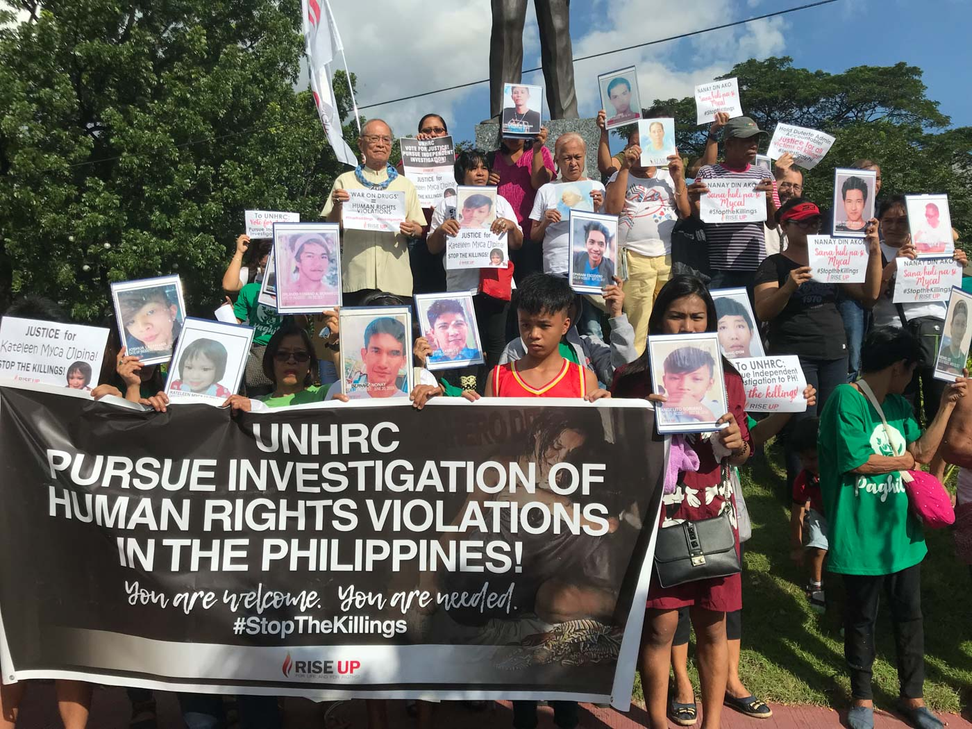 JUSTICE. Families of victims of extrajudicial killings call on the United Nations Human Rights Council to pursue an investigation into the rising drug war deaths in the Philippines. Photo by Micah Guiao/Rappler