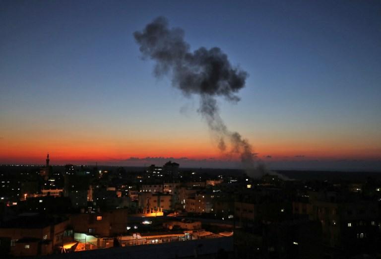 CRISIS. Smoke billows following Israeli air strikes targeting Rafah in the southern Gaza Strip, near the border with Egypt, on November 12, 2018. Photo by Said Khatib/AFP