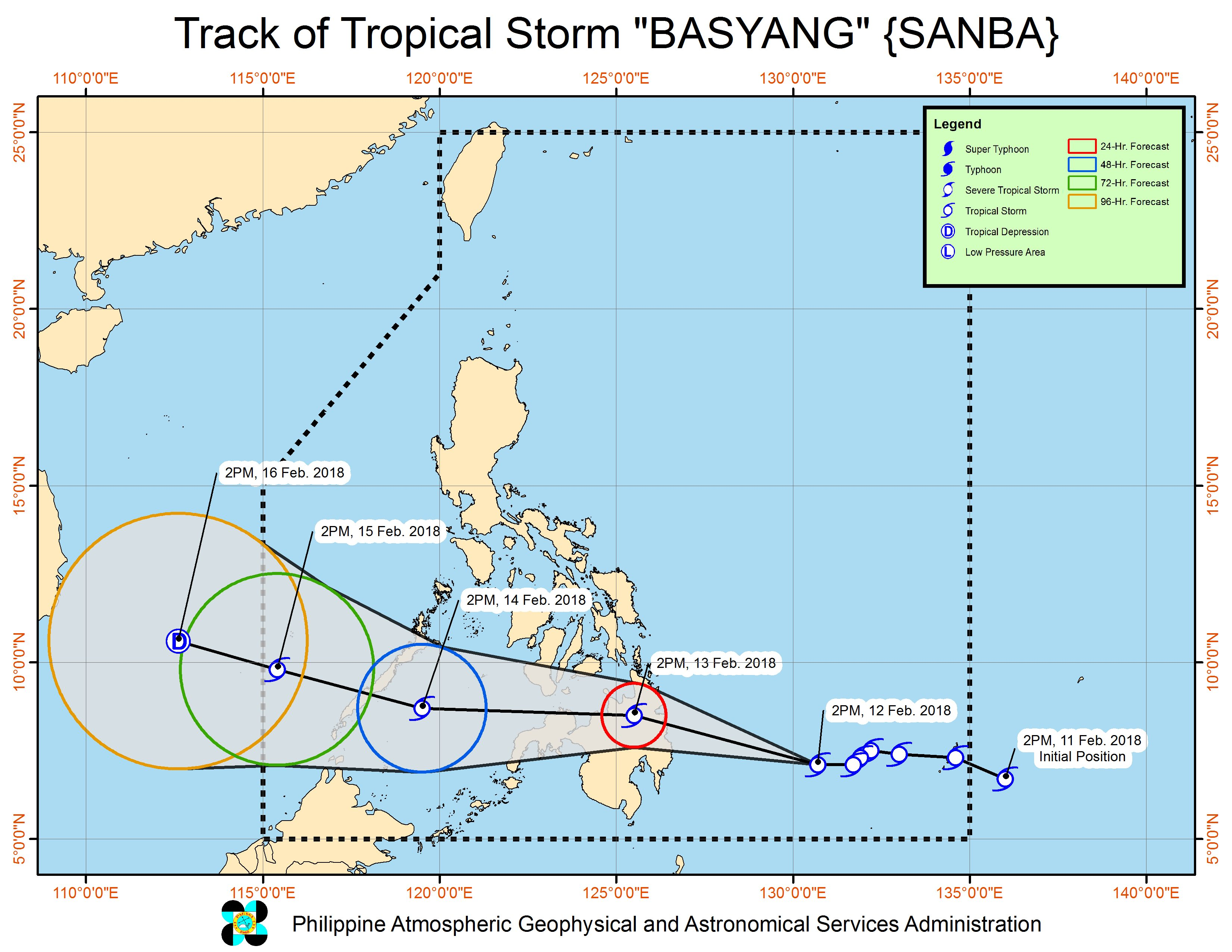 Forecast track of Tropical Storm Basyang as of February 12, 5 pm. Image courtesy of PAGASA