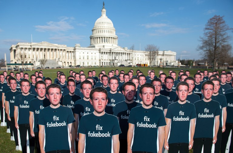 PROTEST. In this file photo taken on April 10, 2018, one hundred cardboard cutouts of Facebook founder and CEO Mark Zuckerberg stand outside the US Capitol in Washington, DC. Photo by Saul Loeb/AFP