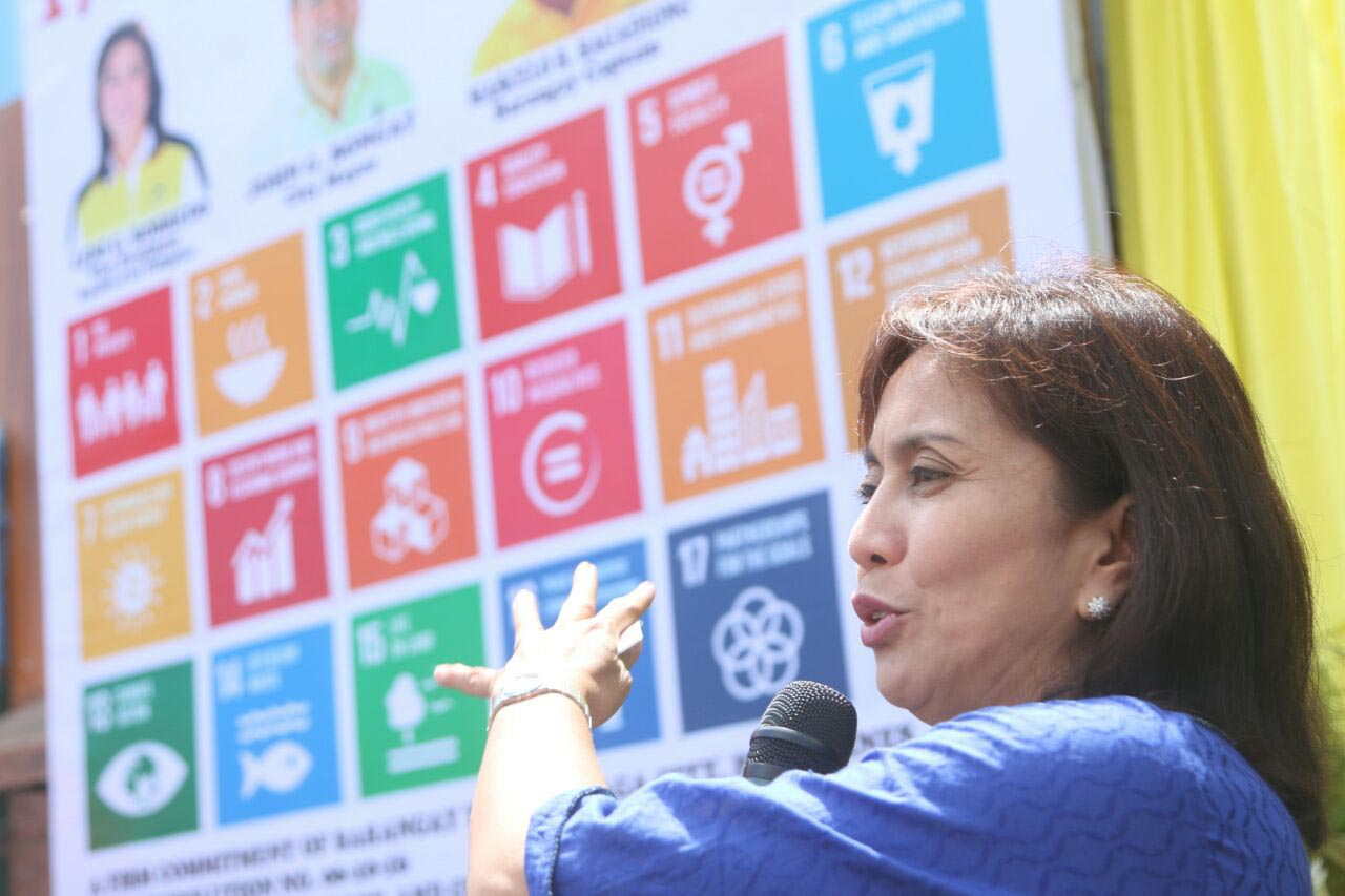 DUTIES AT HOME. Robredo attends the unveiling of a marker of the United Nations Sustainable Development Goals Marker in Barangay Tabuco in Naga City on July 2. Photo courtesy of the Office of the Vice President