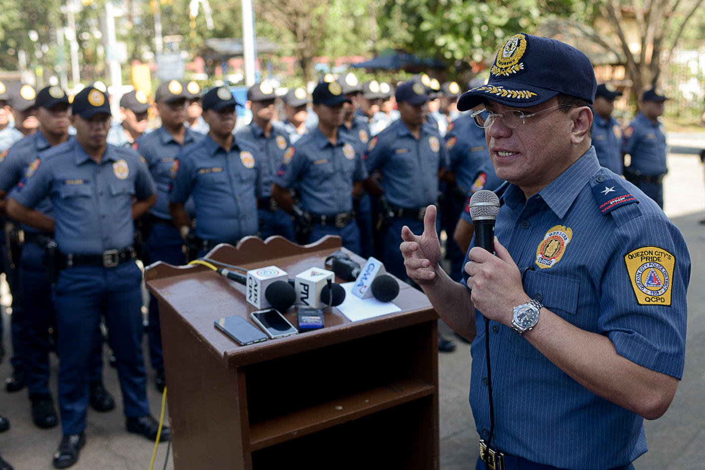 NCRPO CHIEF. New Metro Manila top cop Guillermo Eleazar speaks at the Quezon City Police District. File photo by Eloisa Lopez/Rappler